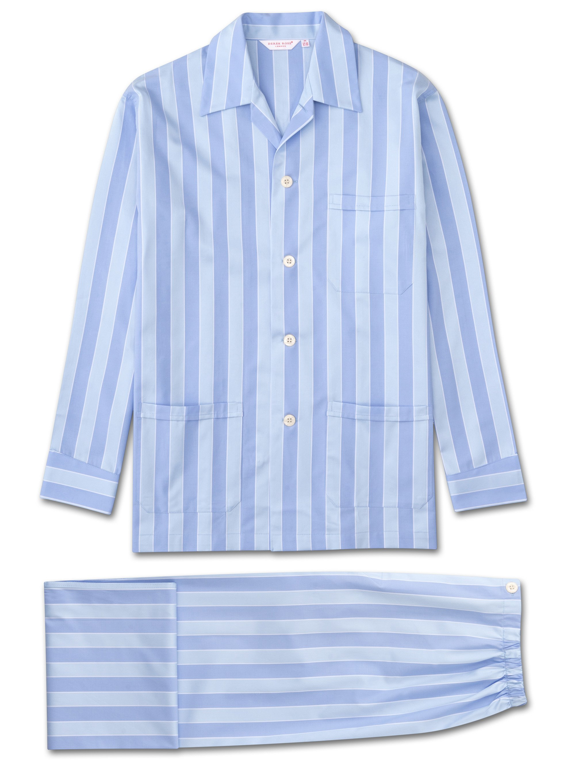 Men's Classic Fit Pyjamas Mayfair Pure Cotton Satin Stripe Blue