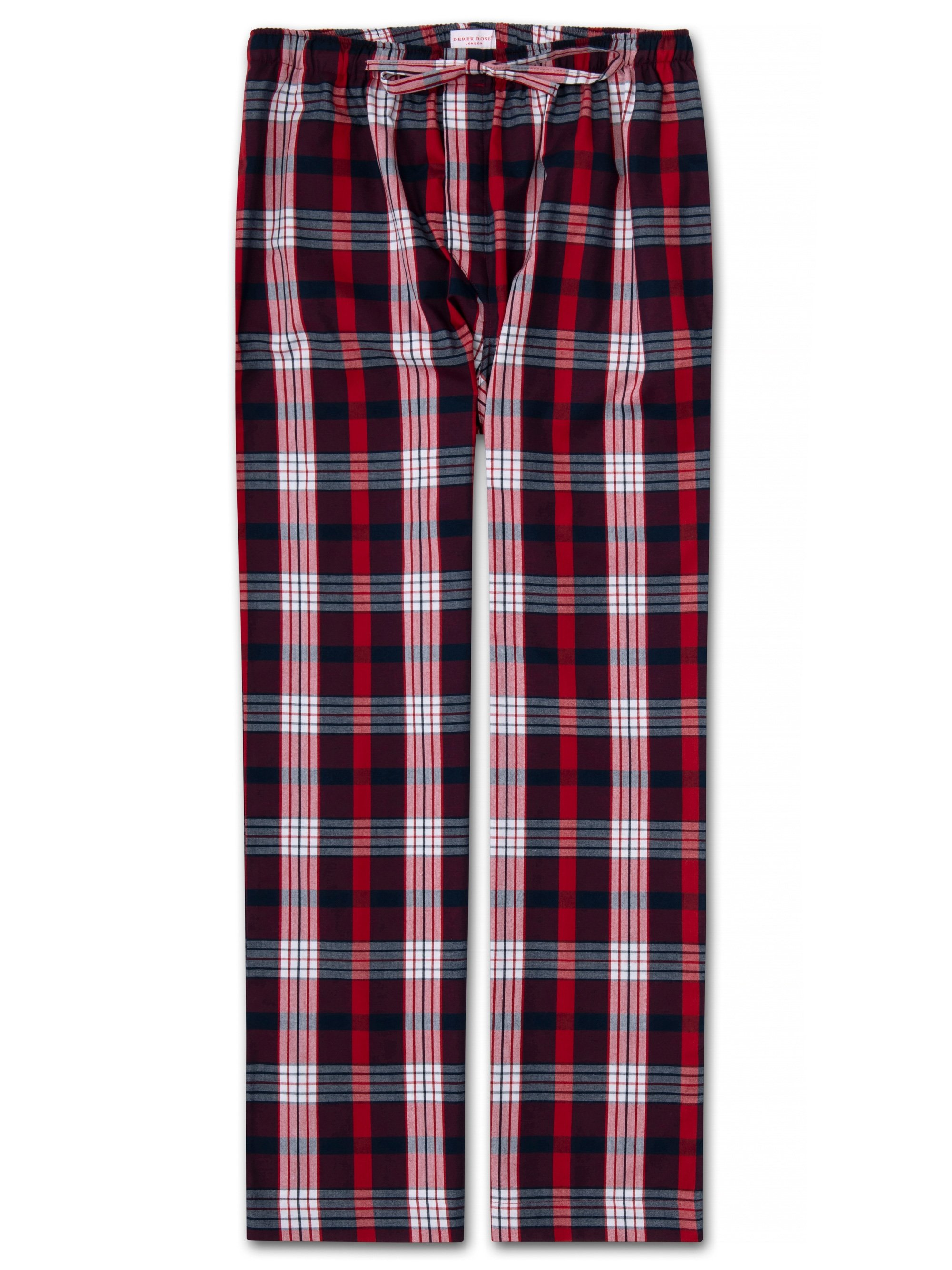 Men's Lounge Trousers Ranga 40 Brushed Cotton Check Red