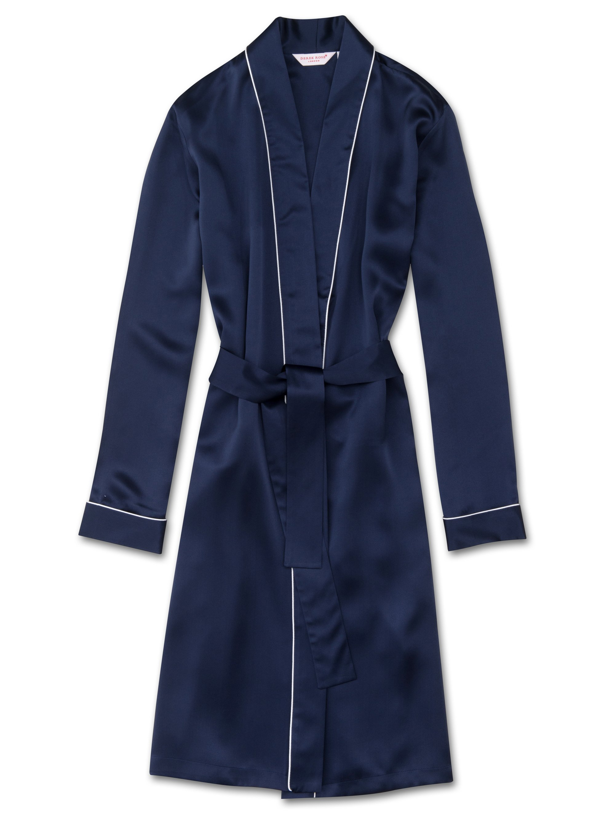 Women's Dressing Gown Bailey Pure Silk Satin Navy