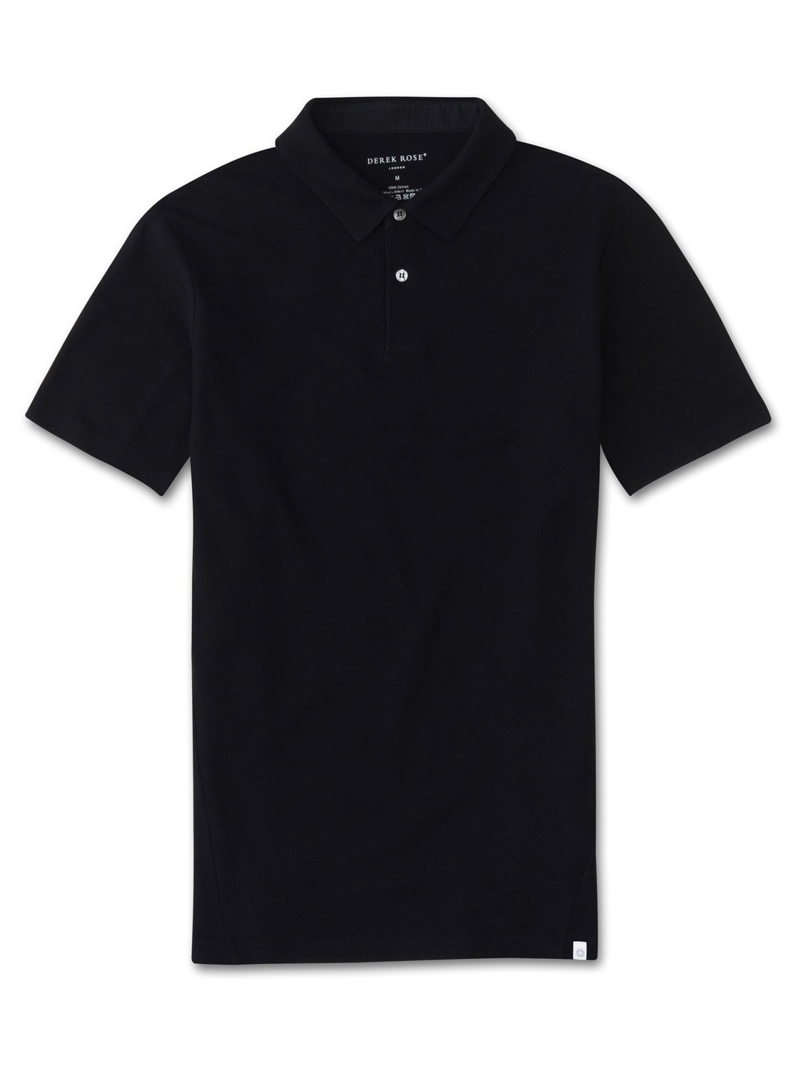 Men's Short Sleeve Polo Shirt Roland 2 Pique Cotton Black
