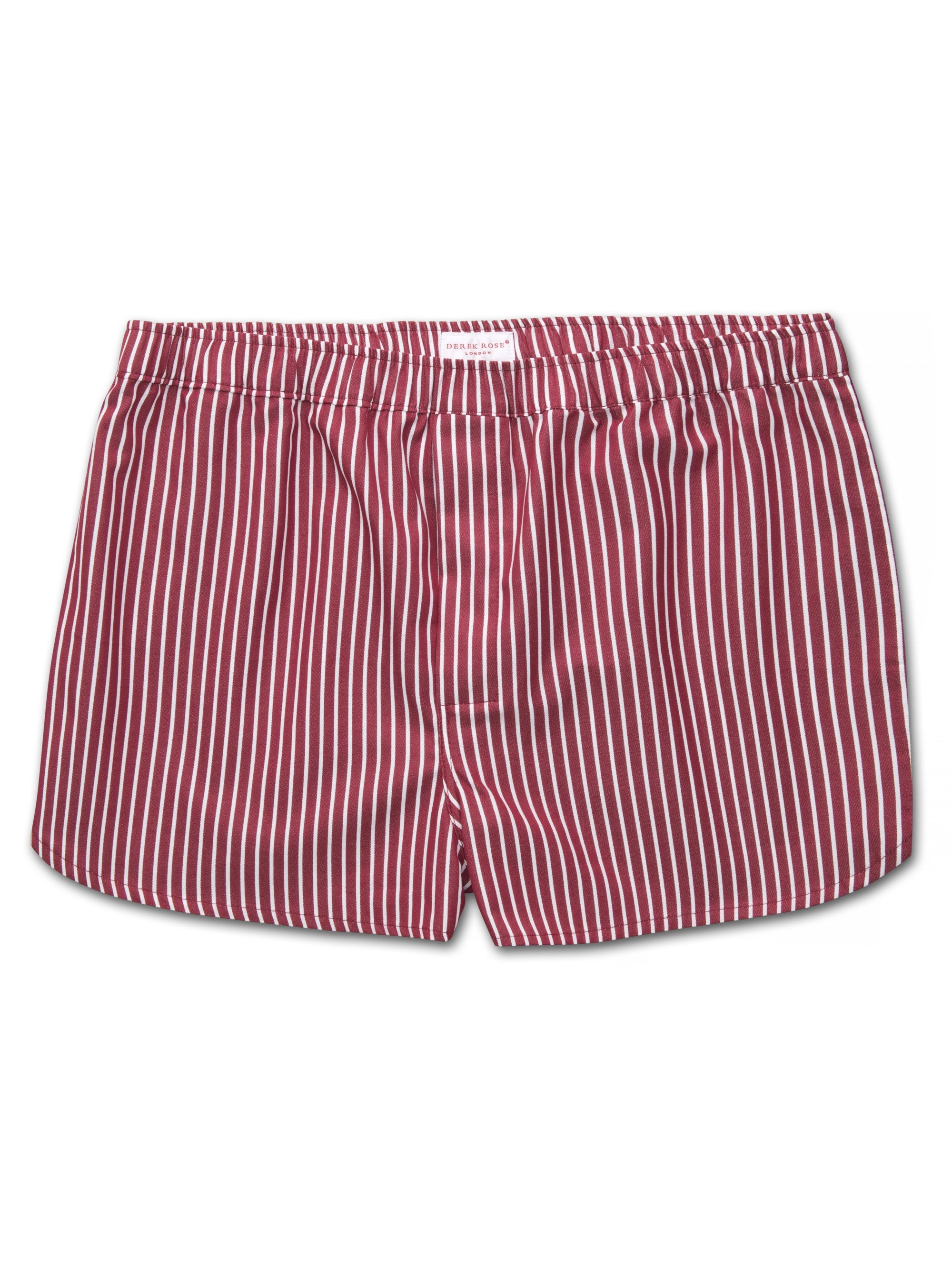 Men's Modern Fit Boxer Shorts Royal 215 Cotton Satin Stripe Red