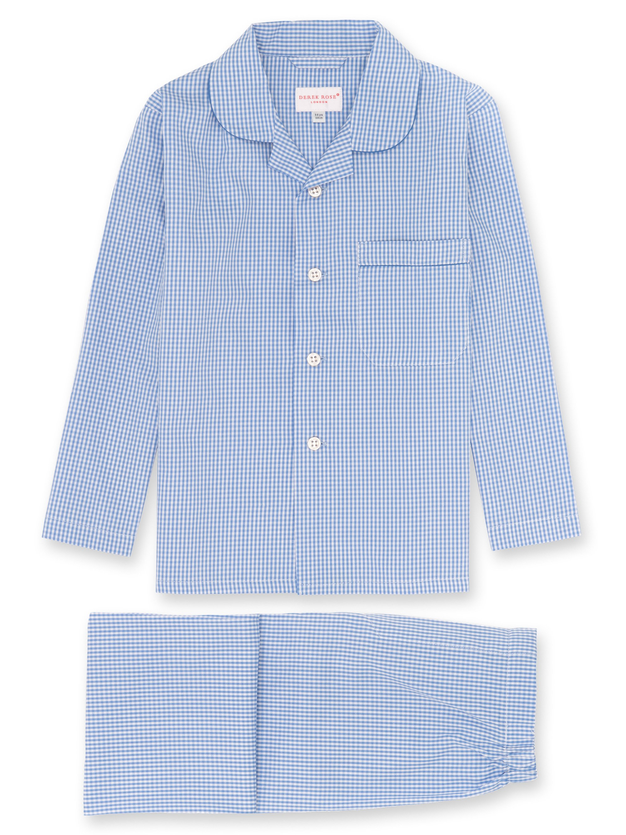 Boys' Pyjamas Gingham Cotton Check Blue