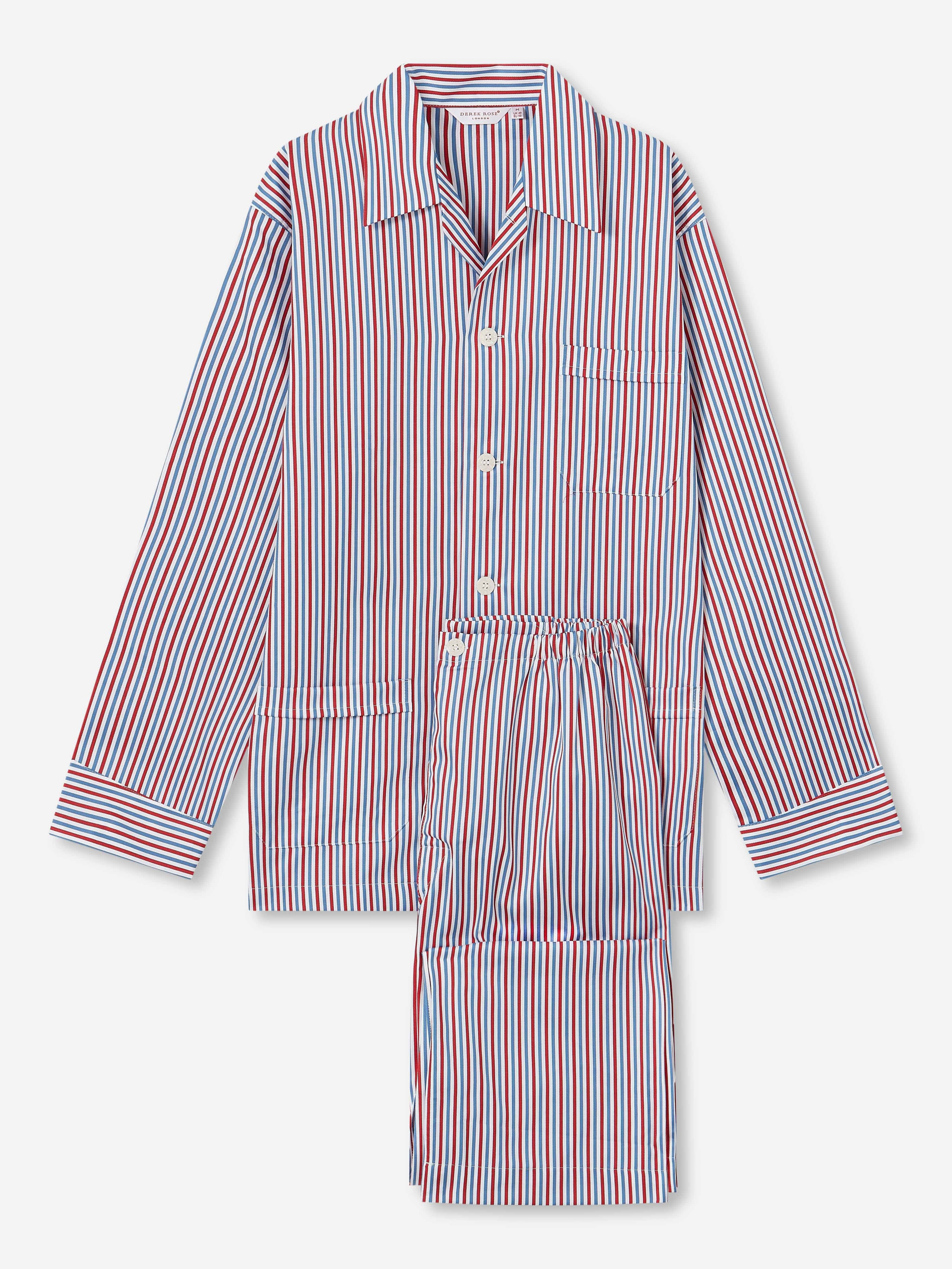 Men's Classic Fit Pyjamas Wellington 50 Cotton Full Satin Multi