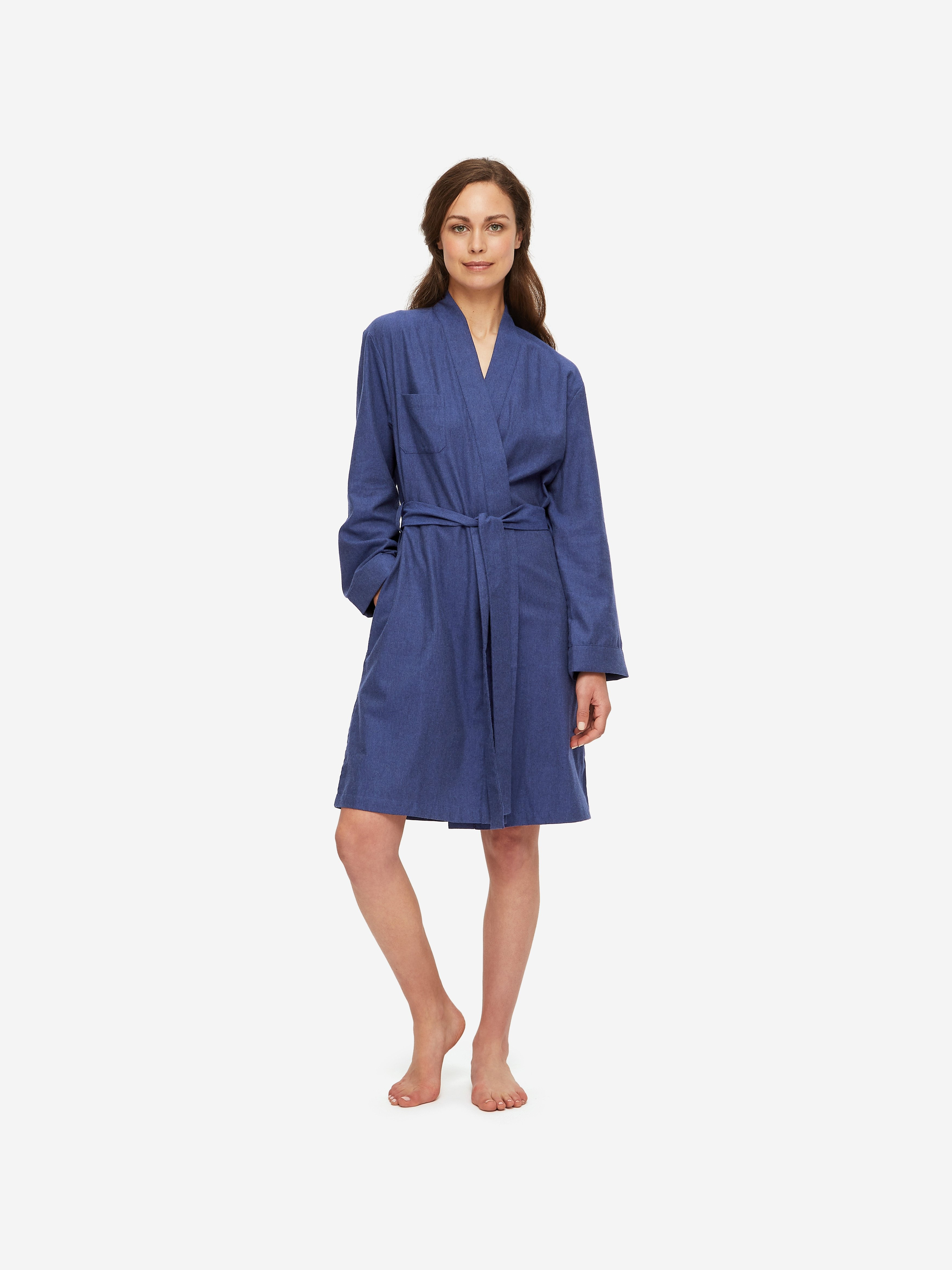 Women's Dressing Gown Balmoral 3 Brushed Cotton Navy