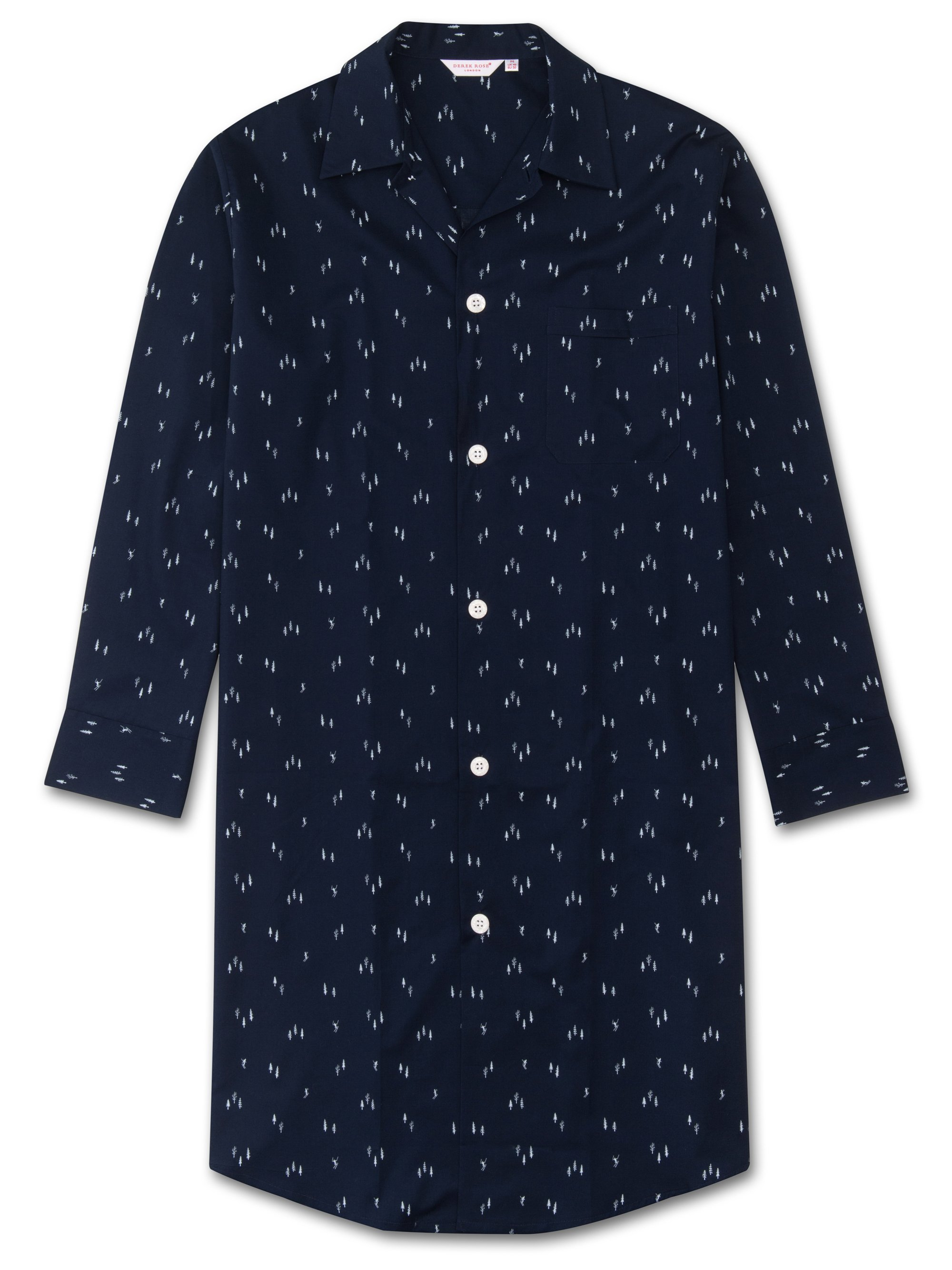 Men's Button-Through Nightshirt Nelson 55 Cotton Batiste Navy