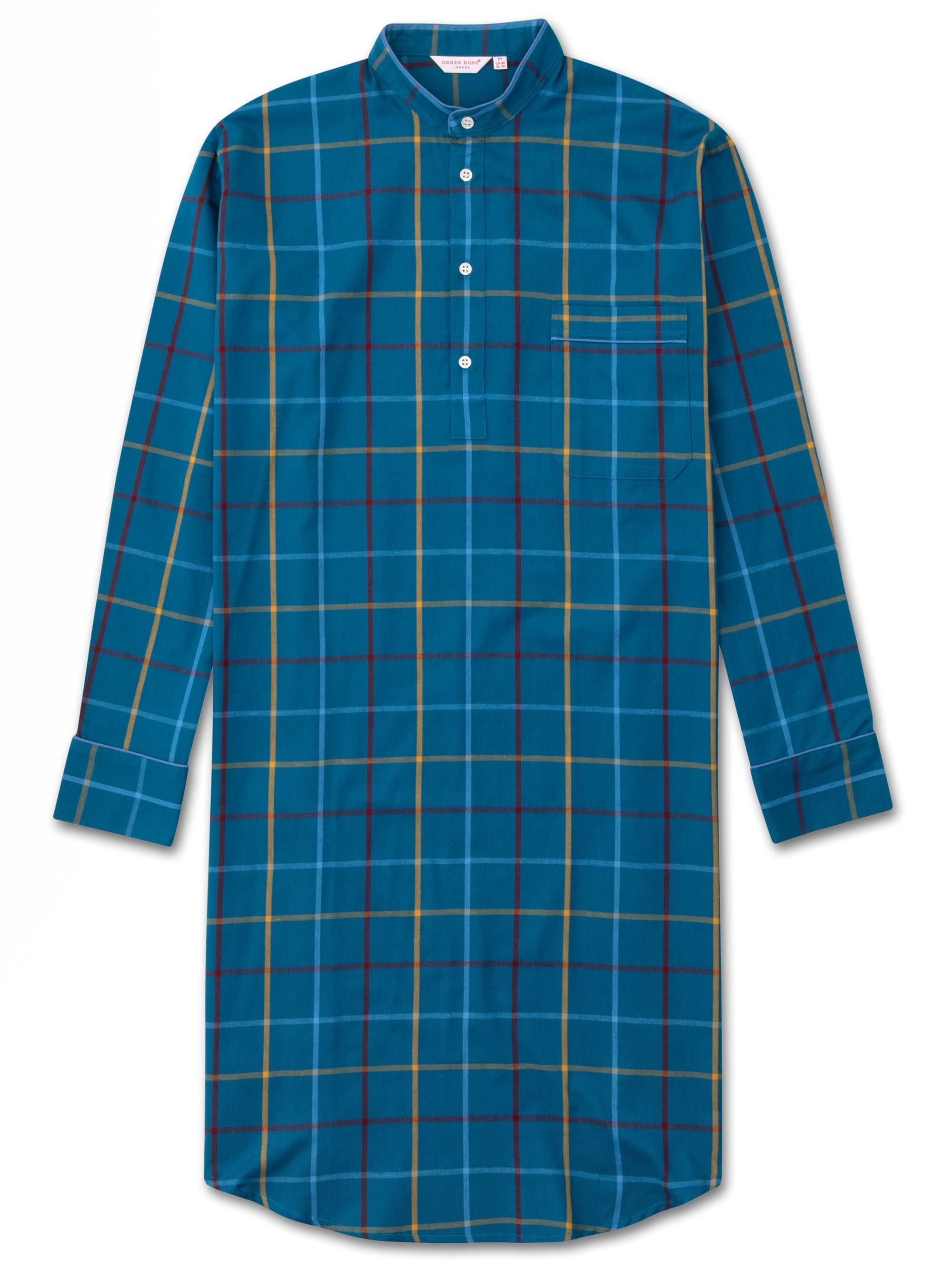 Men's Pullover Nightshirt Ranga 37 Brushed Cotton Check Multi