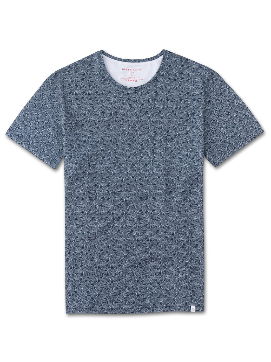 Men's Short Sleeve T-Shirt Henry 9 Carbon-Brushed Cotton Navy