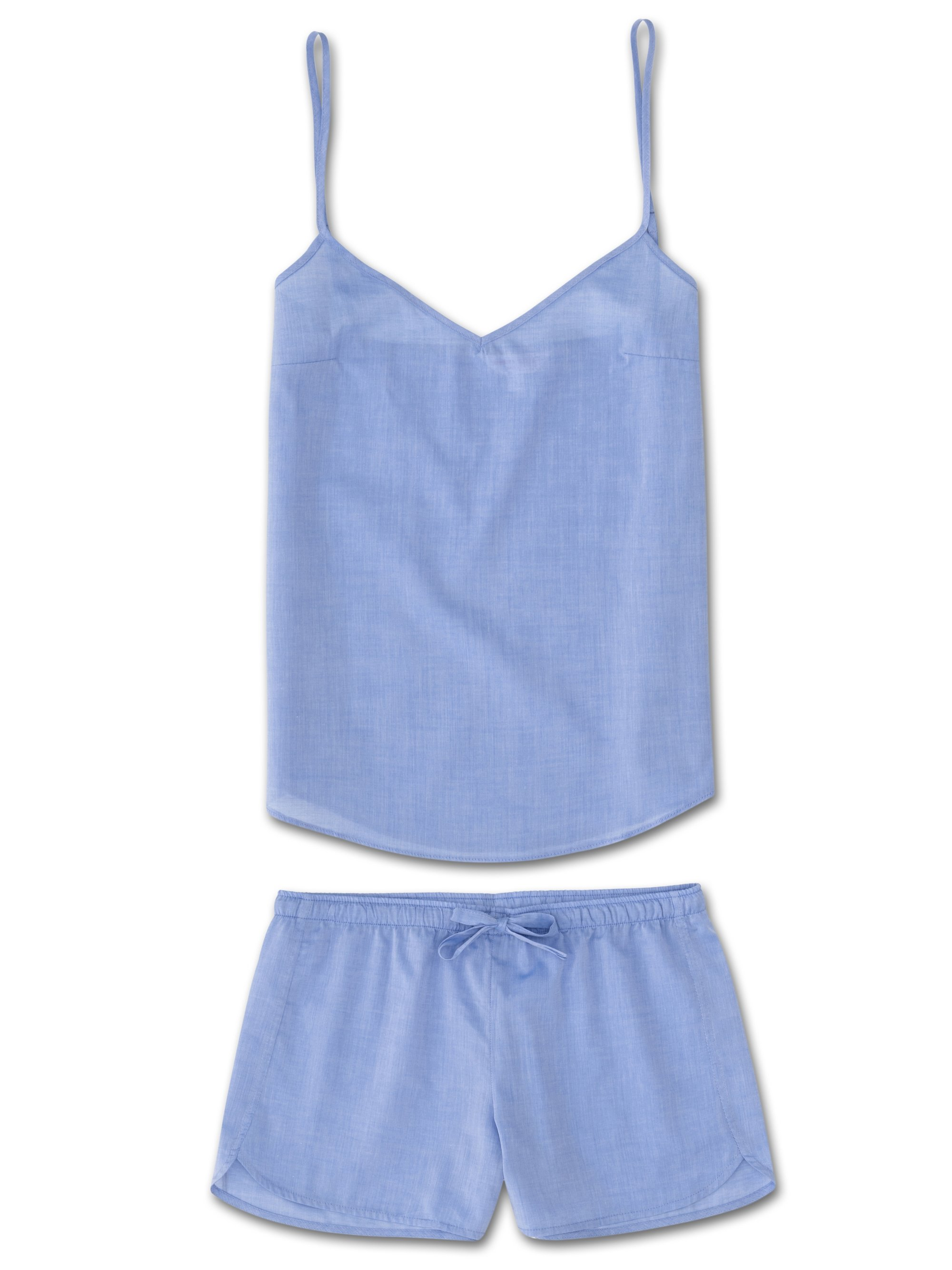 Women's Cami Short Pyjama Set Amalfi Cotton Batiste Blue
