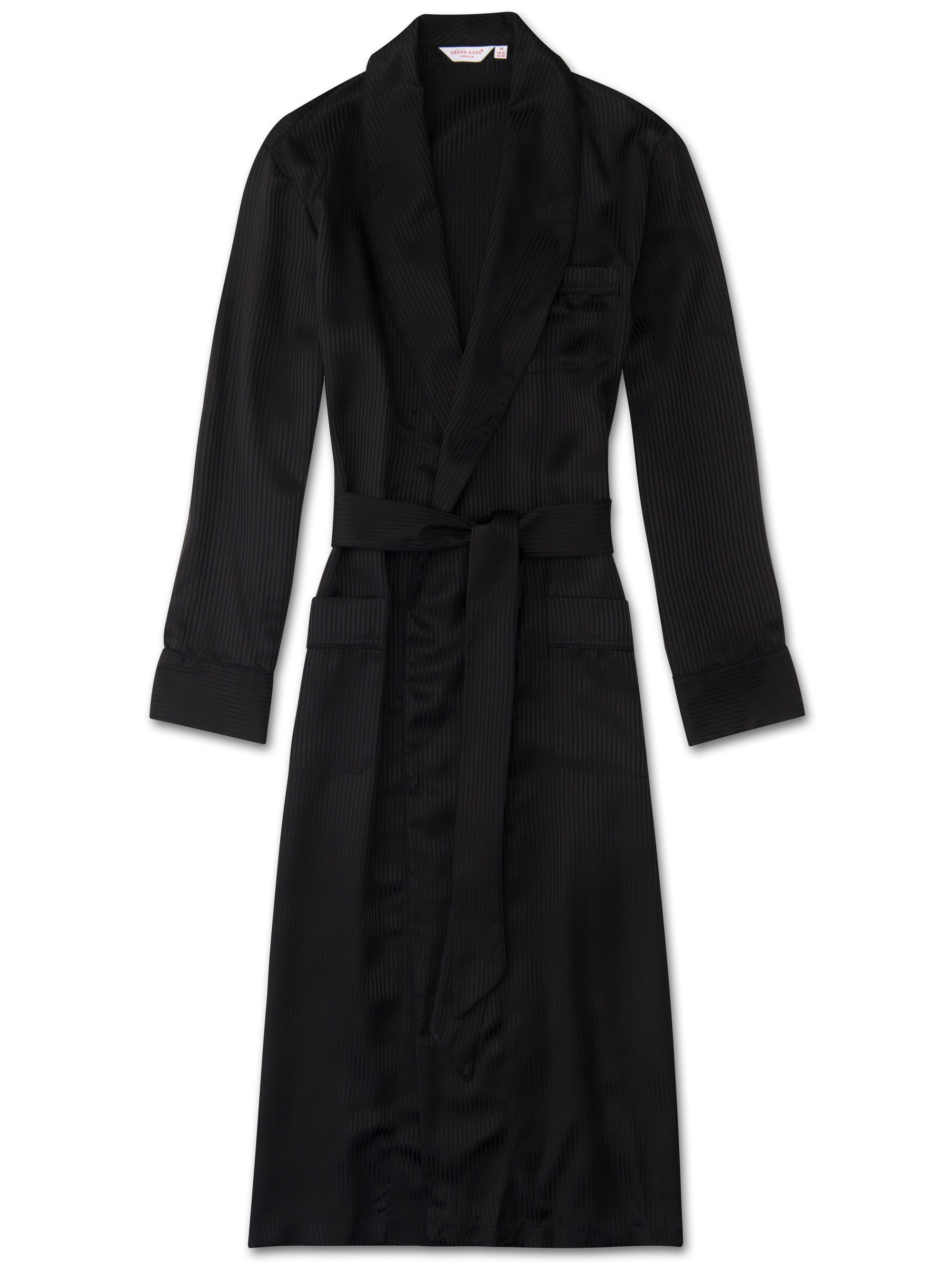 Men's Piped Dressing Gown Woburn 8 Pure Silk Satin Stripe Black