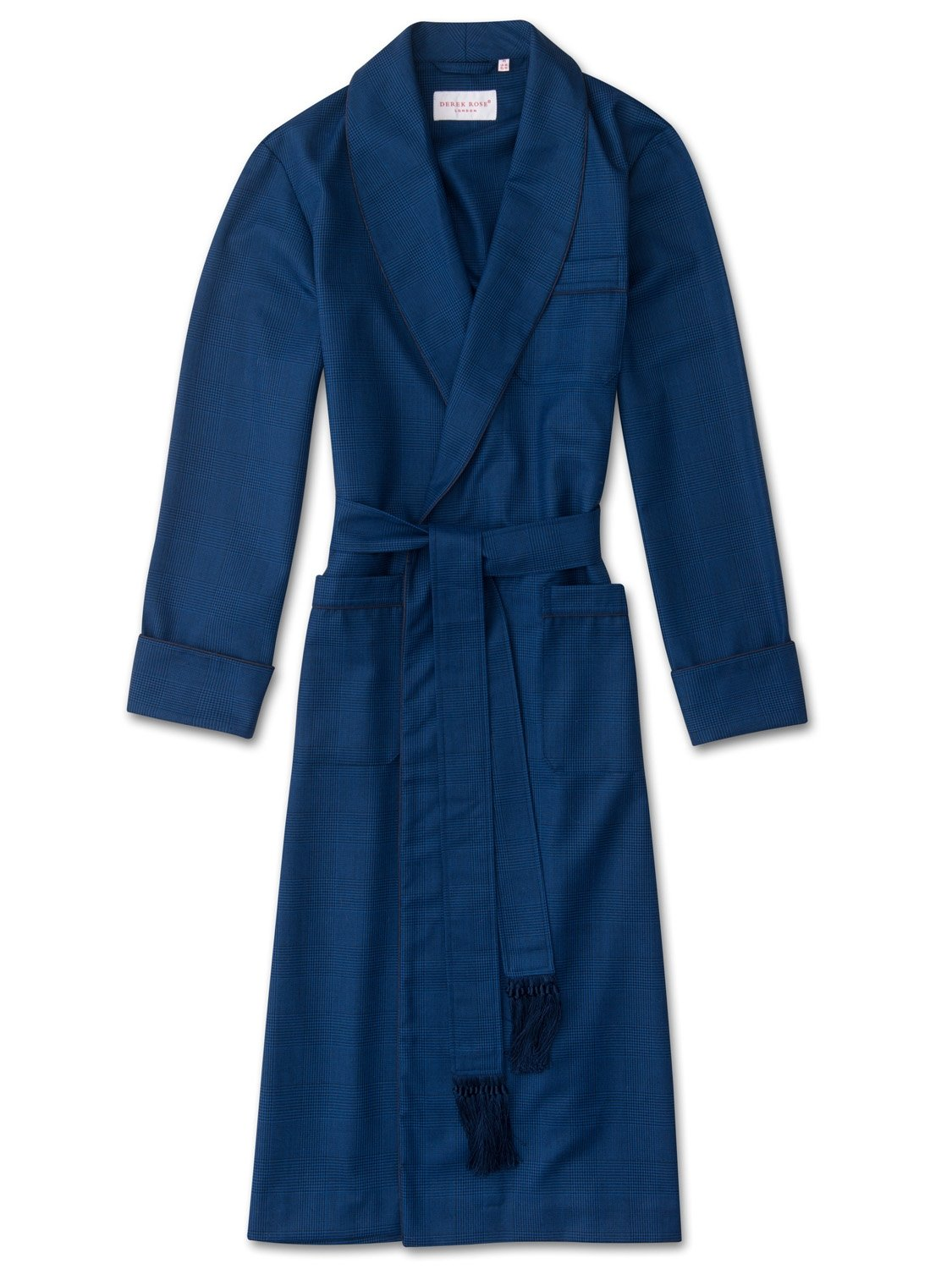 Men's Tasseled Belt Dressing Gown York 34 Pure Wool Check Blue