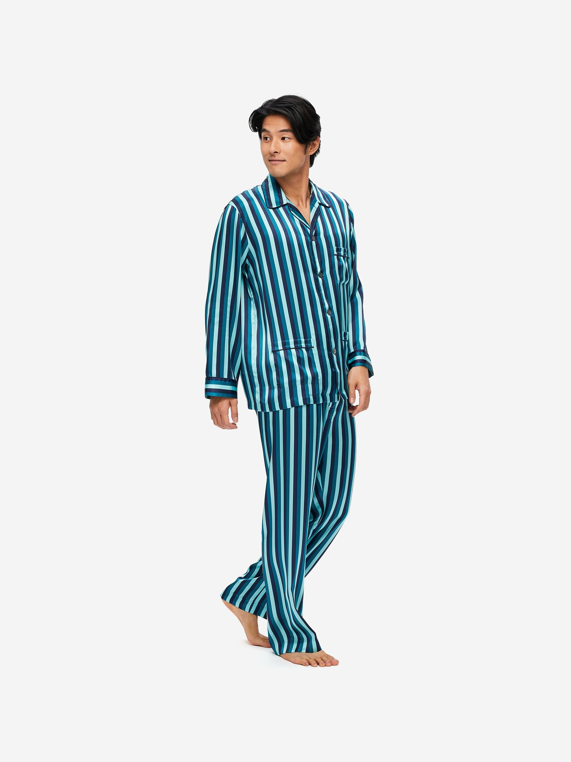 Men's Classic Fit Piped Pyjamas Brindisi 64 Pure Silk Satin Multi