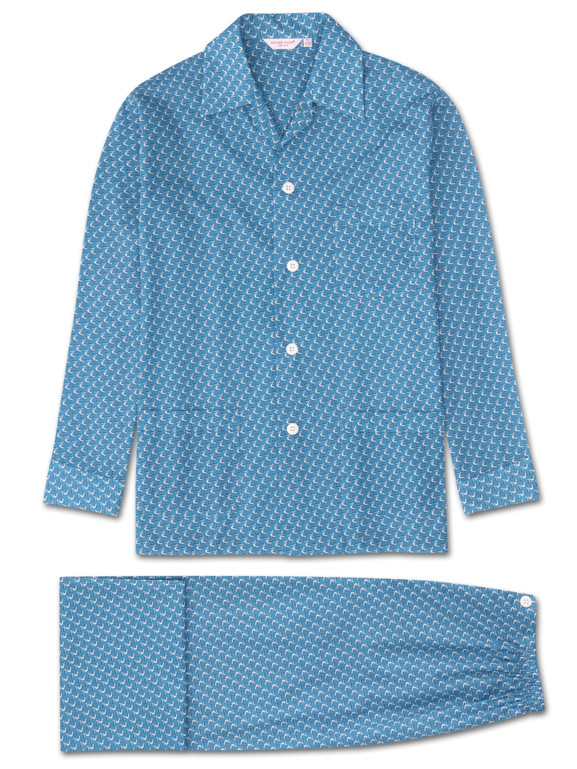 Men's Classic Fit Pyjamas Ledbury 16 Cotton Batiste Blue