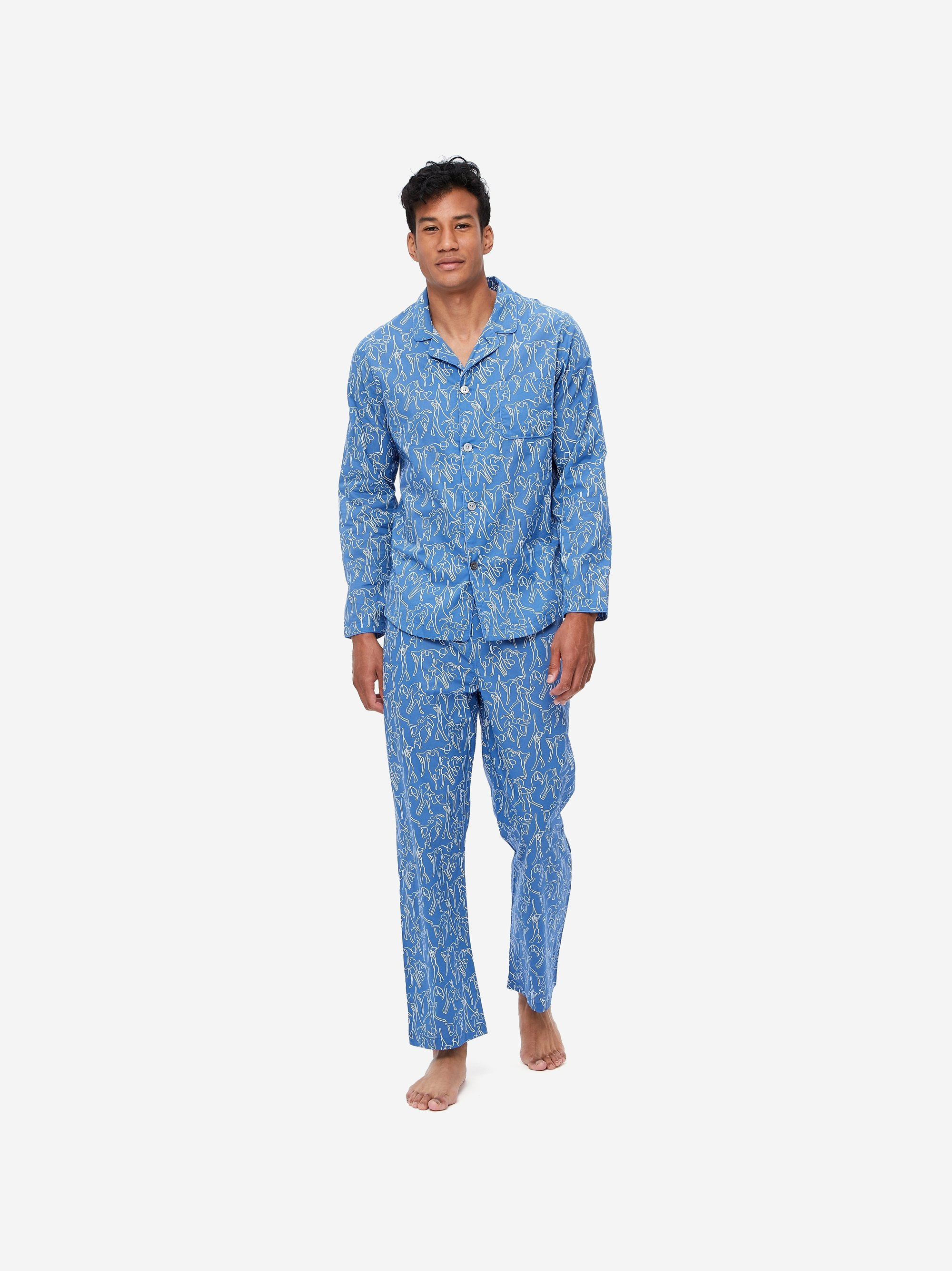 Men's Modern Fit Pyjamas Nelson 76 Cotton Batiste Blue