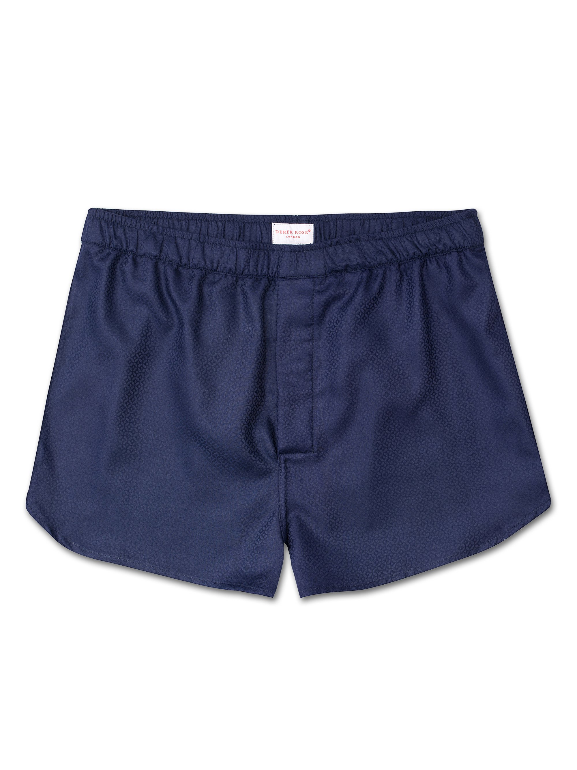 Men's Modern Fit Boxer Shorts Lombard 6 Cotton Jacquard Navy