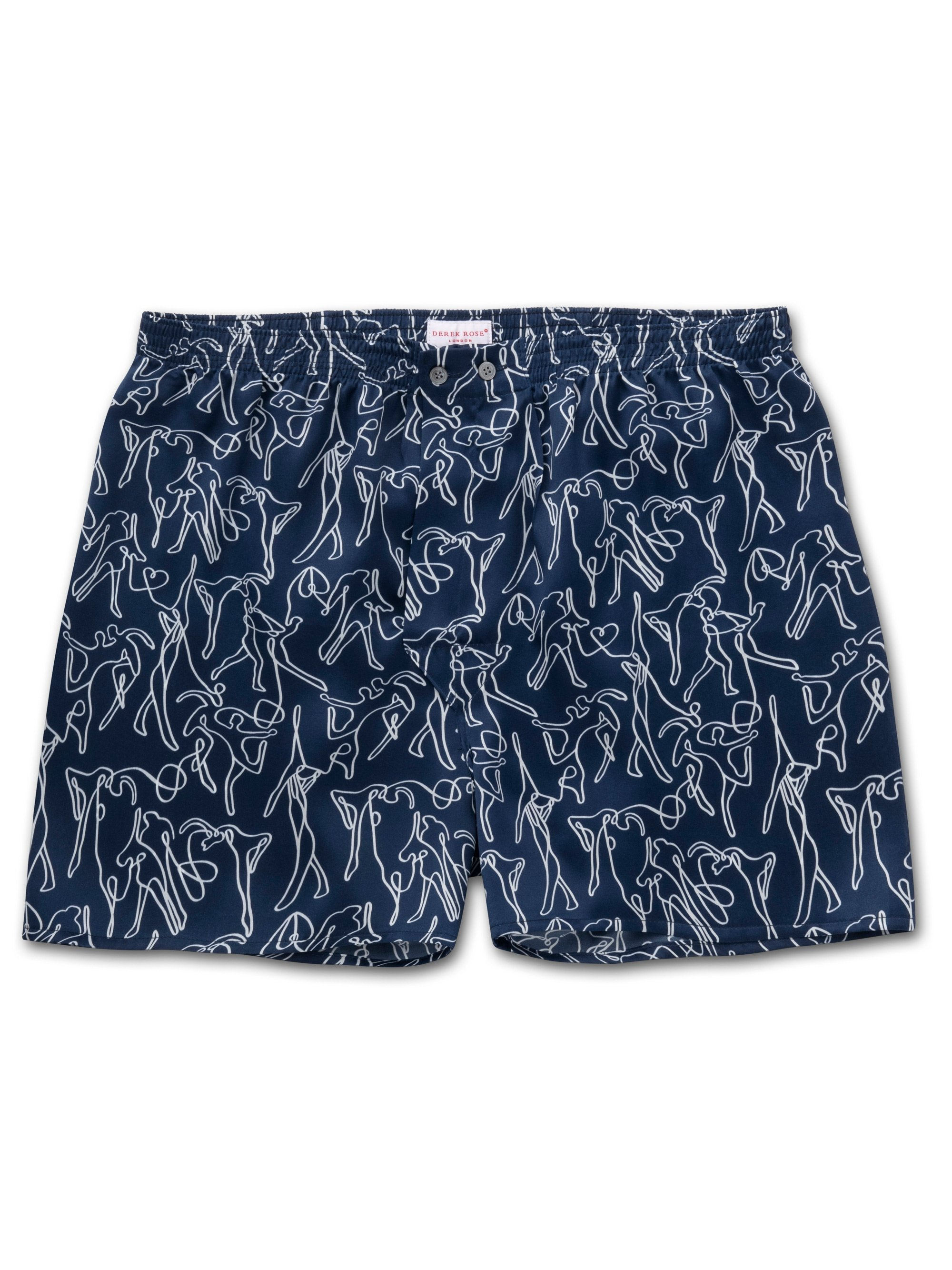 Men's Classic Fit Boxer Shorts Brindisi 59 Pure Silk Satin Navy