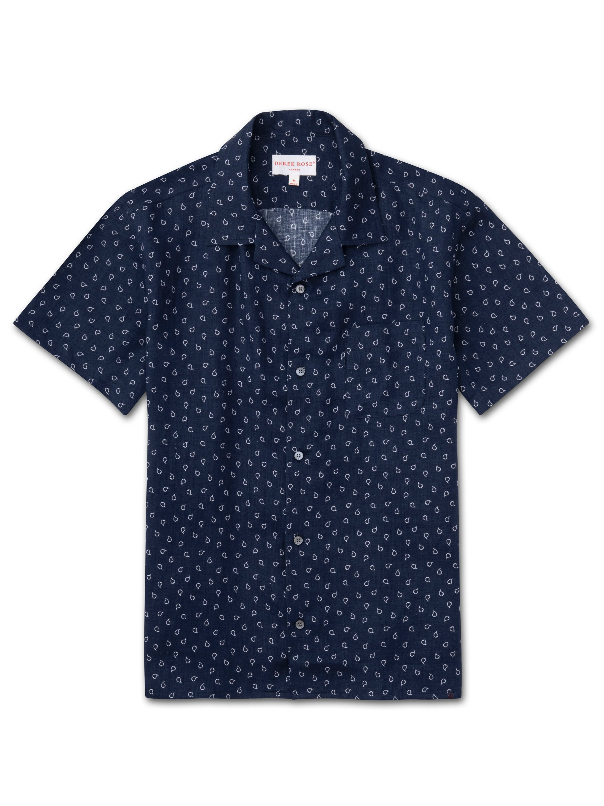 Men's Linen Short Sleeve Shirt Milan 11 Pure Linen Navy