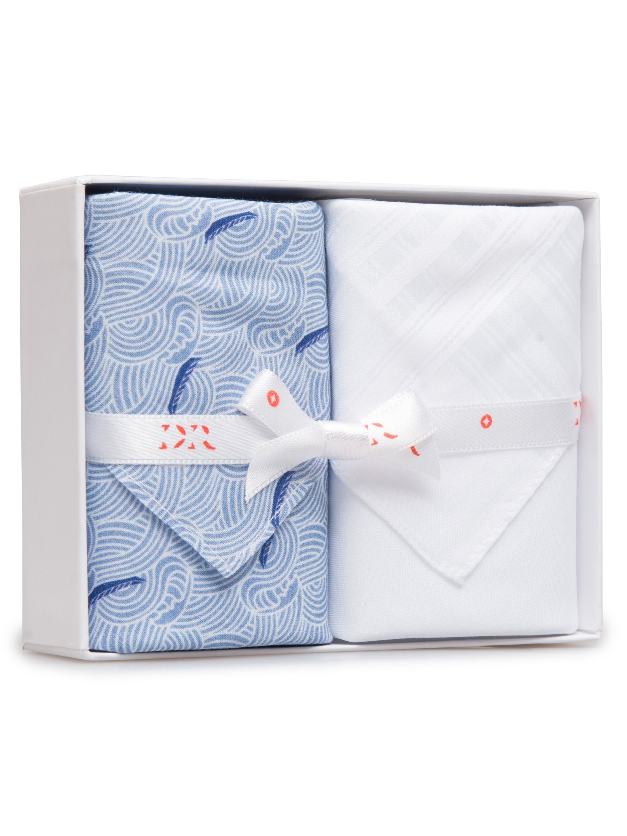 Handkerchief Set Pack 141 Ledbury 12 Blue & Plain White