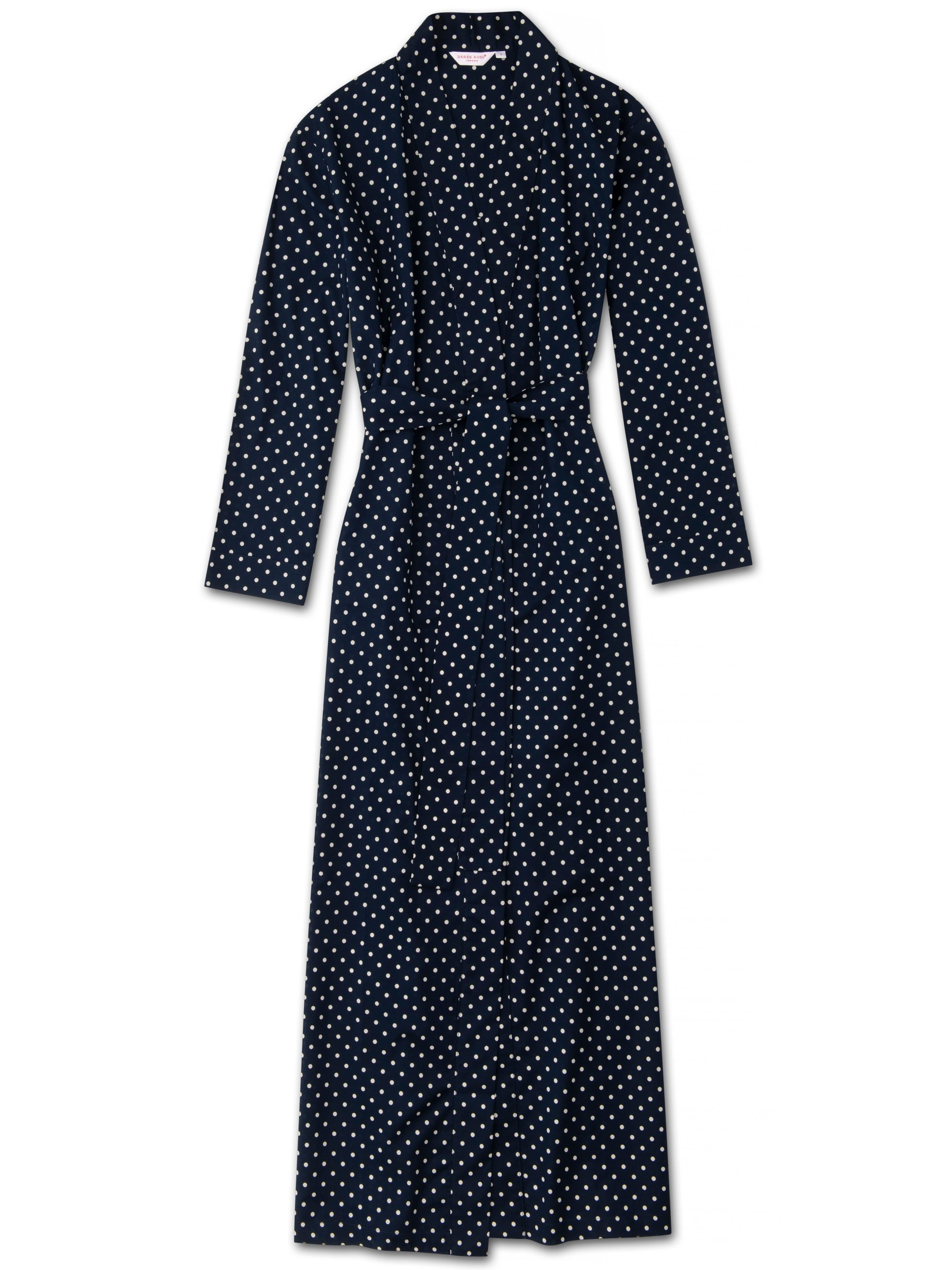 Women's Full Length Dressing Gown Plaza 60 Cotton Batiste Navy