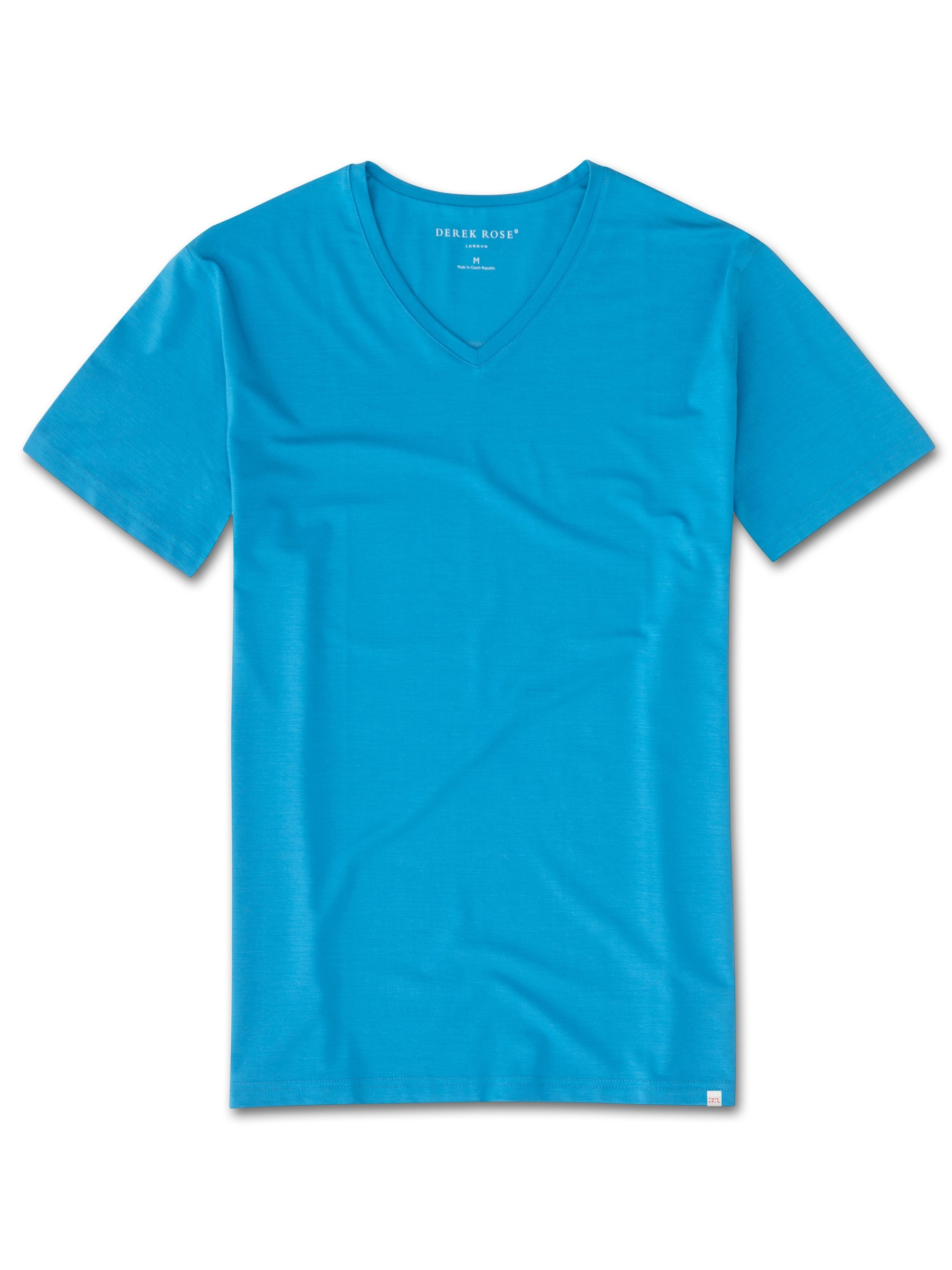 Men's Short Sleeve V-Neck T-Shirt Basel 6 Micro Modal Stretch Blue