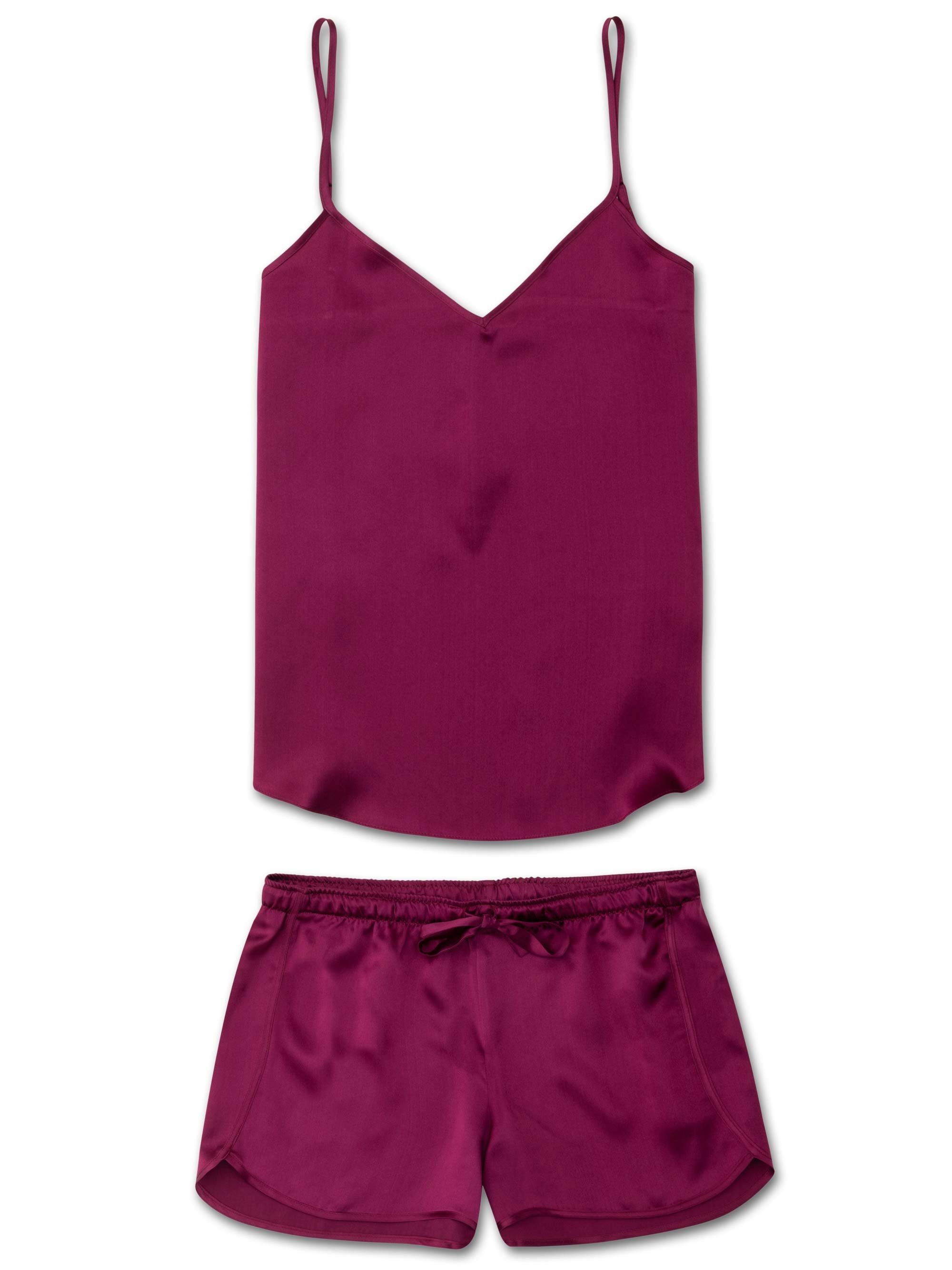 Women's Cami Short Pyjama Set Bailey Pure Silk Satin Berry