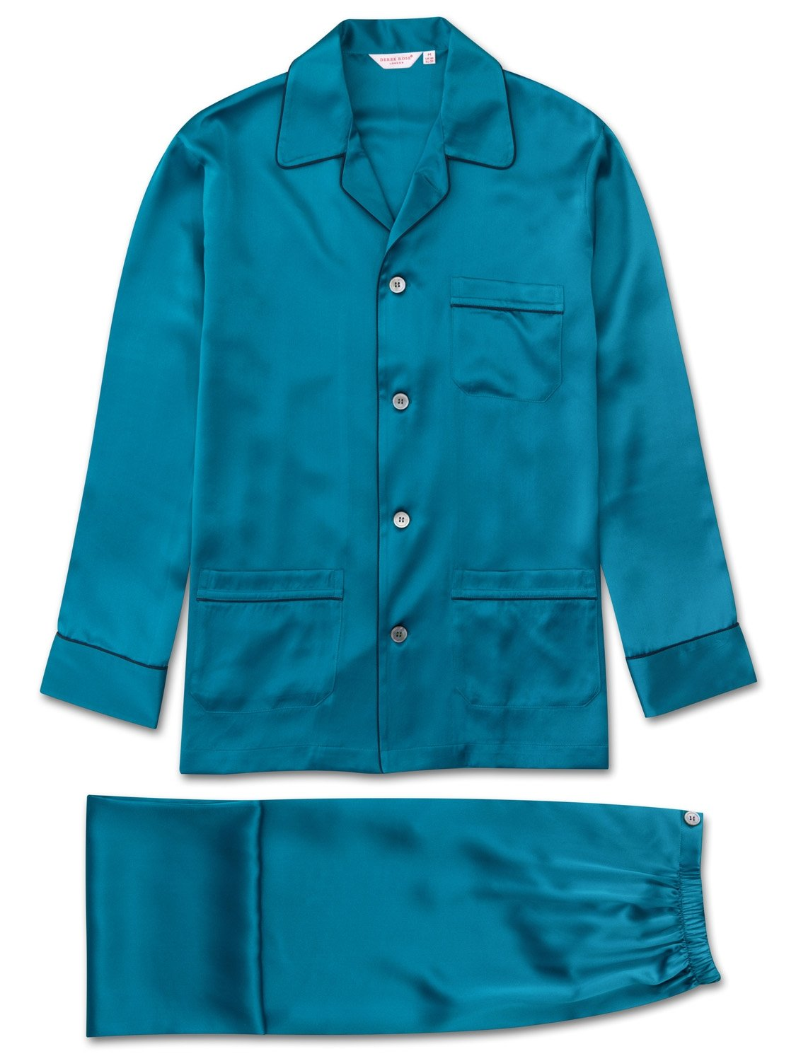 Men's Classic Fit Piped Pyjamas Bailey Pure Silk Satin Teal