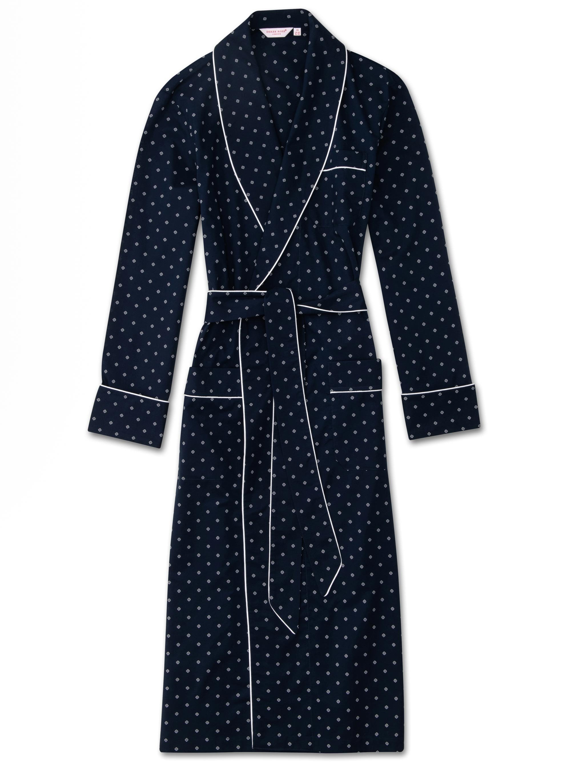 Men's Piped Dressing Gown Nelson 71 Cotton Batiste Navy