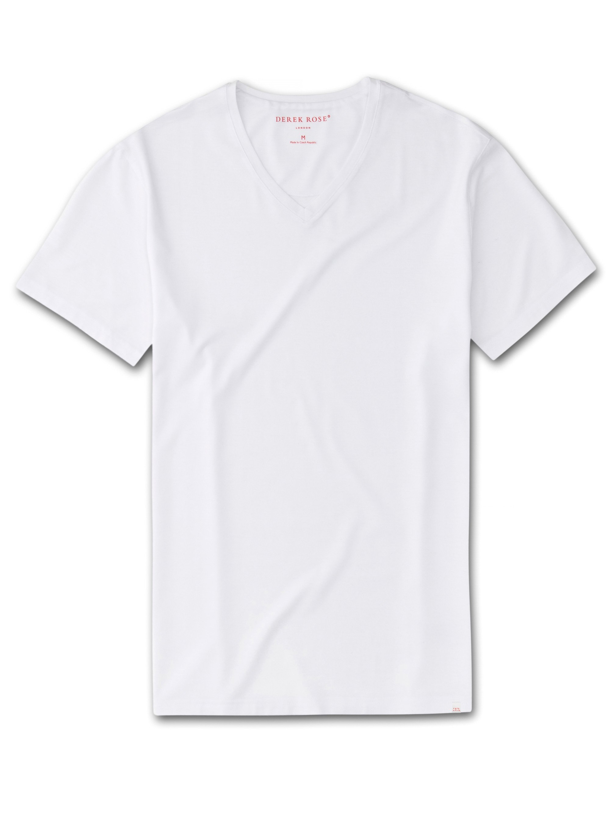 Men's Short Sleeve V-Neck T-Shirt Basel Micro Modal Stretch White