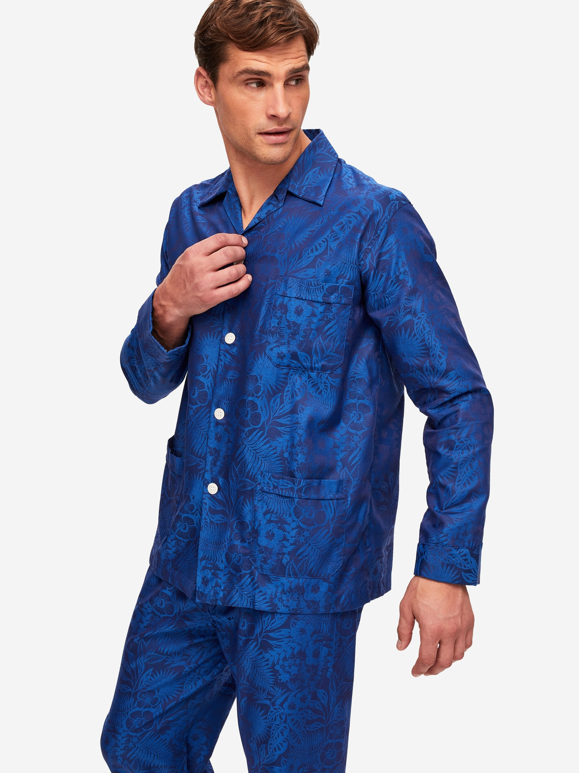 Men's Classic Fit Pyjamas Paris 19 Cotton Jacquard Navy