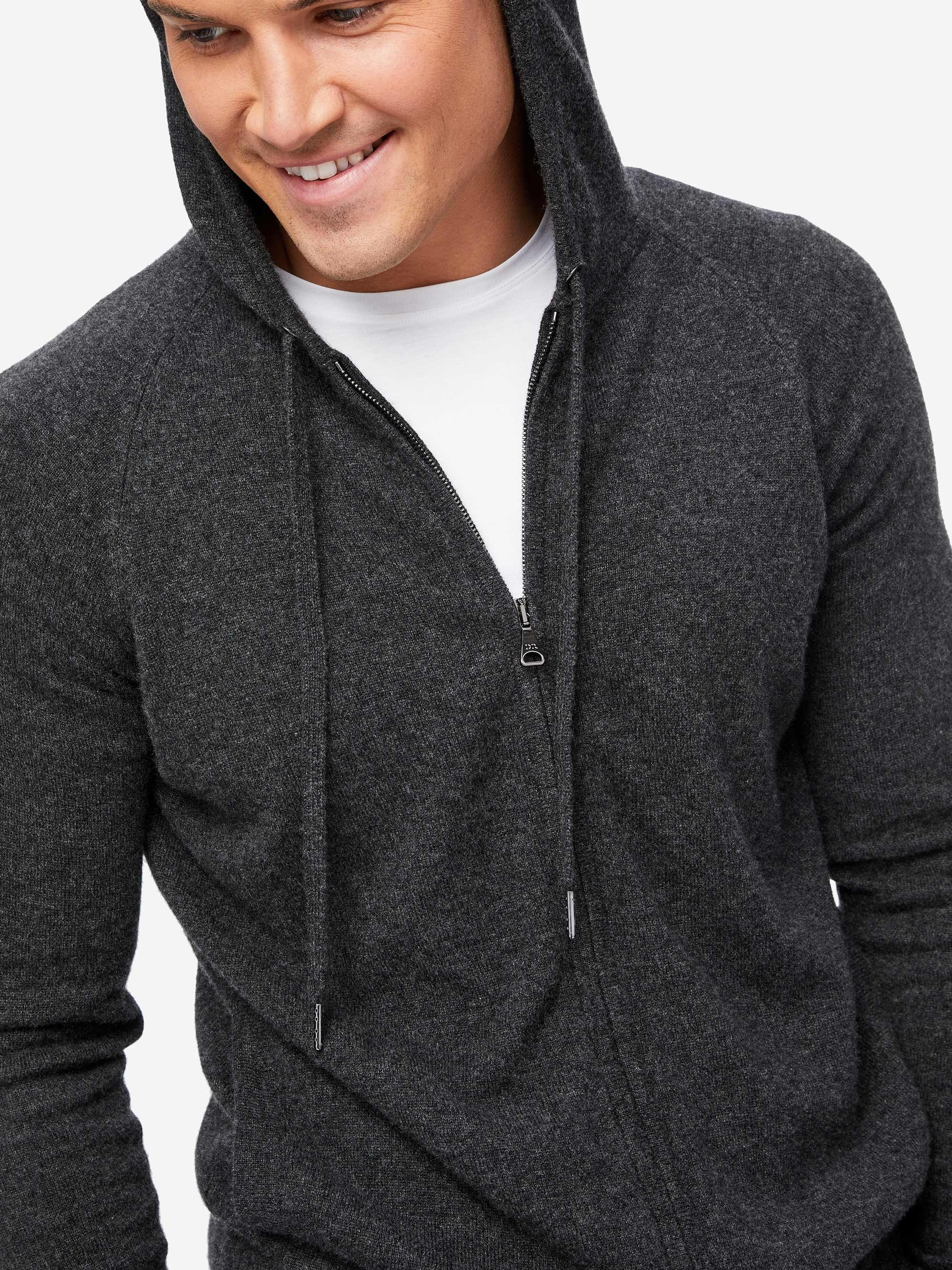 Men's Cashmere Hoodie Finley 2 Pure Cashmere Charcoal