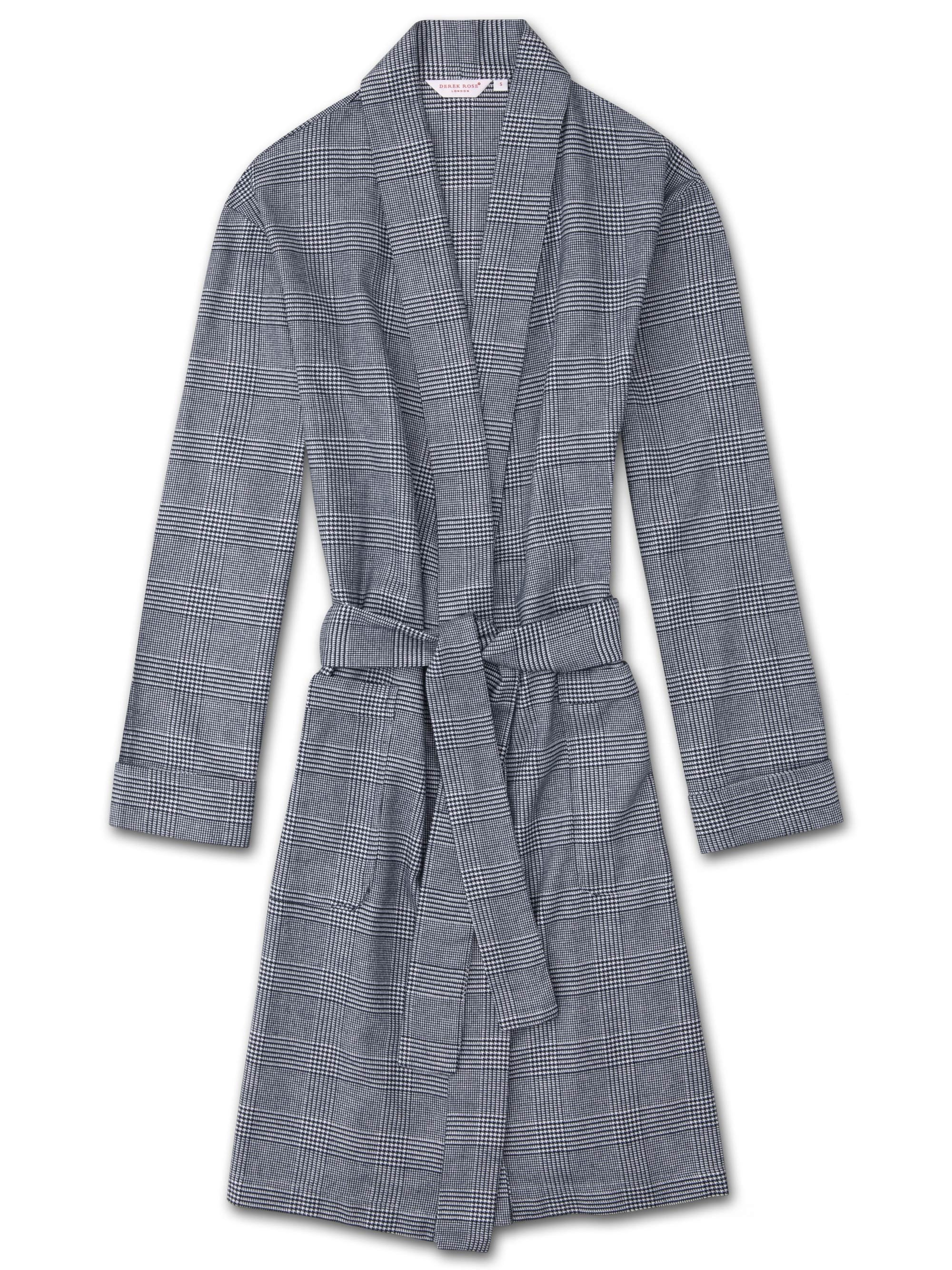 Women's Dressing Gown Kelburn 10 Brushed Cotton Check Navy