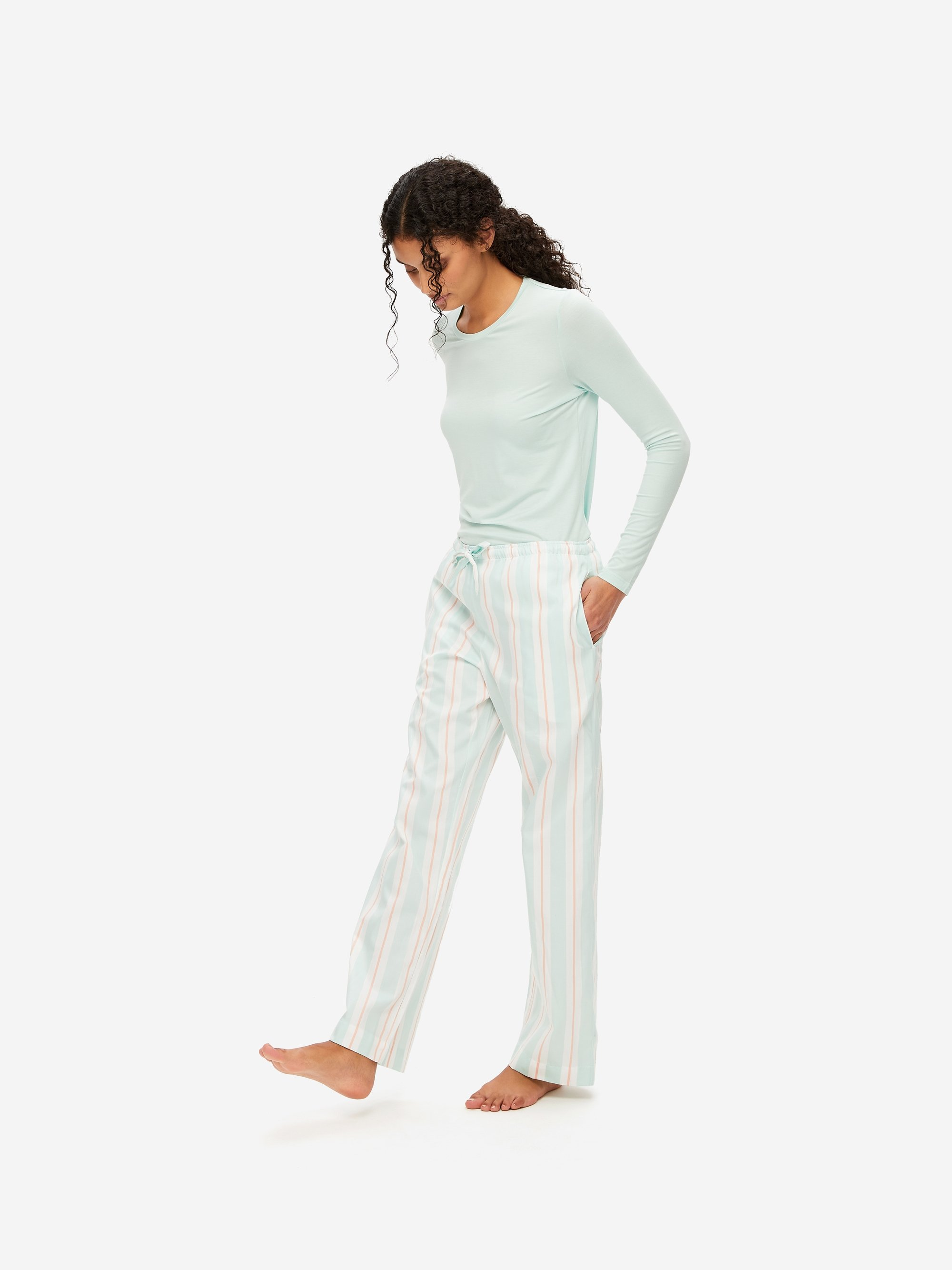 Women's Lounge Trousers Milly 9 Cotton Full Satin Stripe Mint