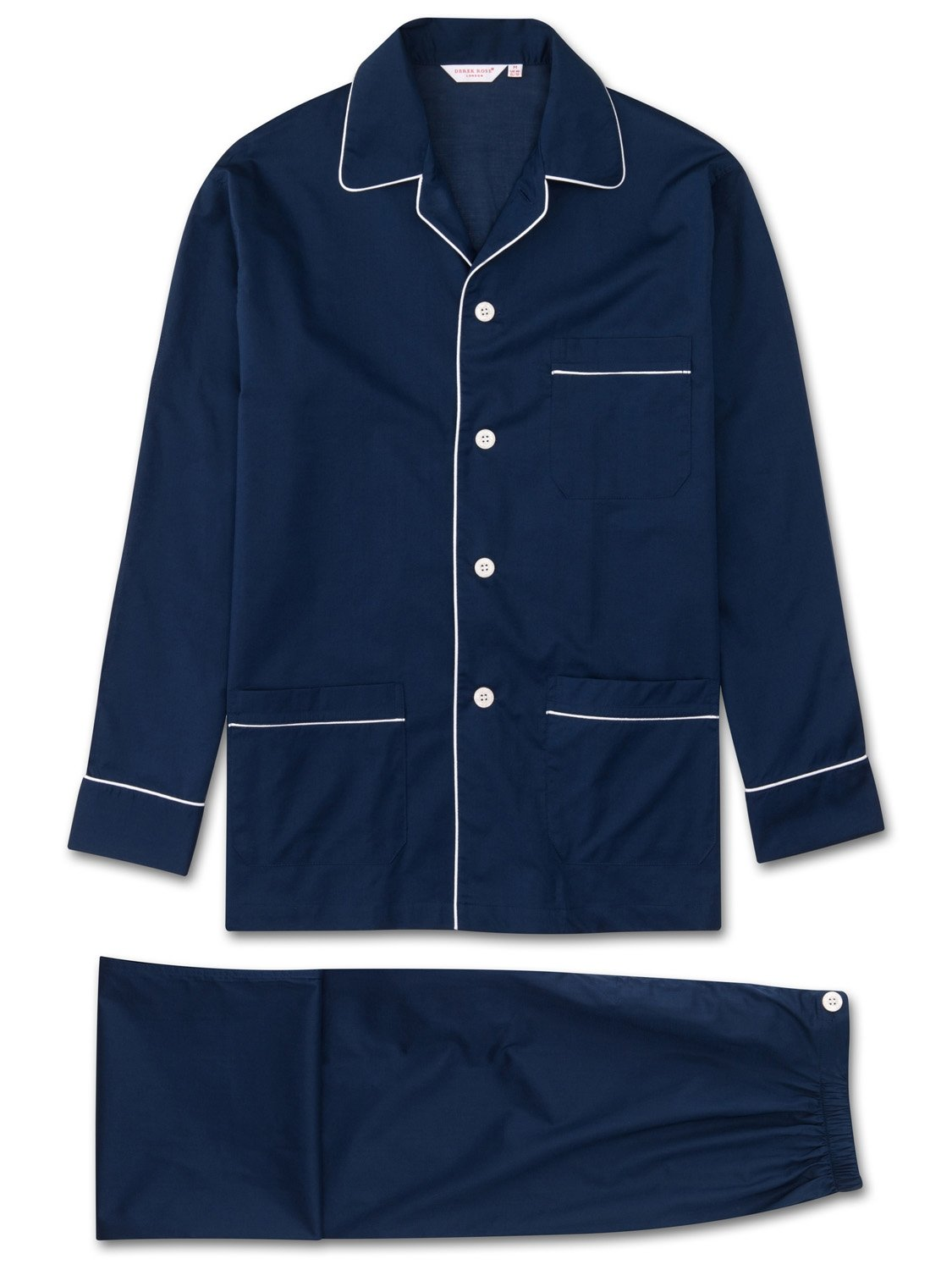 Men's Classic Fit Piped Pyjamas Amalfi Cotton Batiste Navy