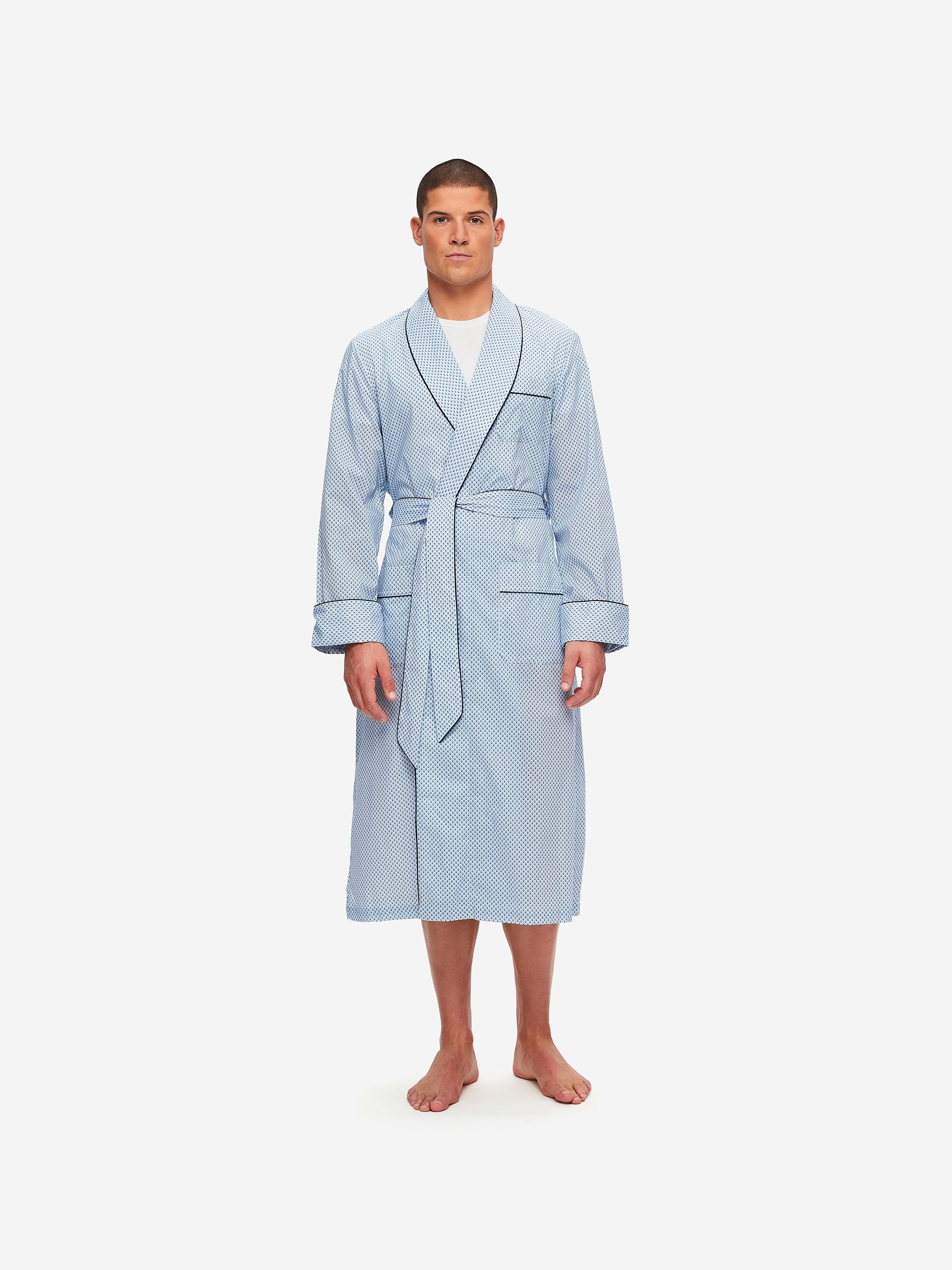 Men's Piped Dressing Gown Ledbury 40 Cotton Batiste Blue