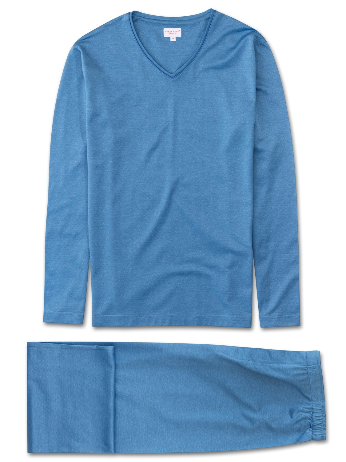 Men's Jersey V-Neck Pyjamas Bari 14 Stretch Cotton Blue