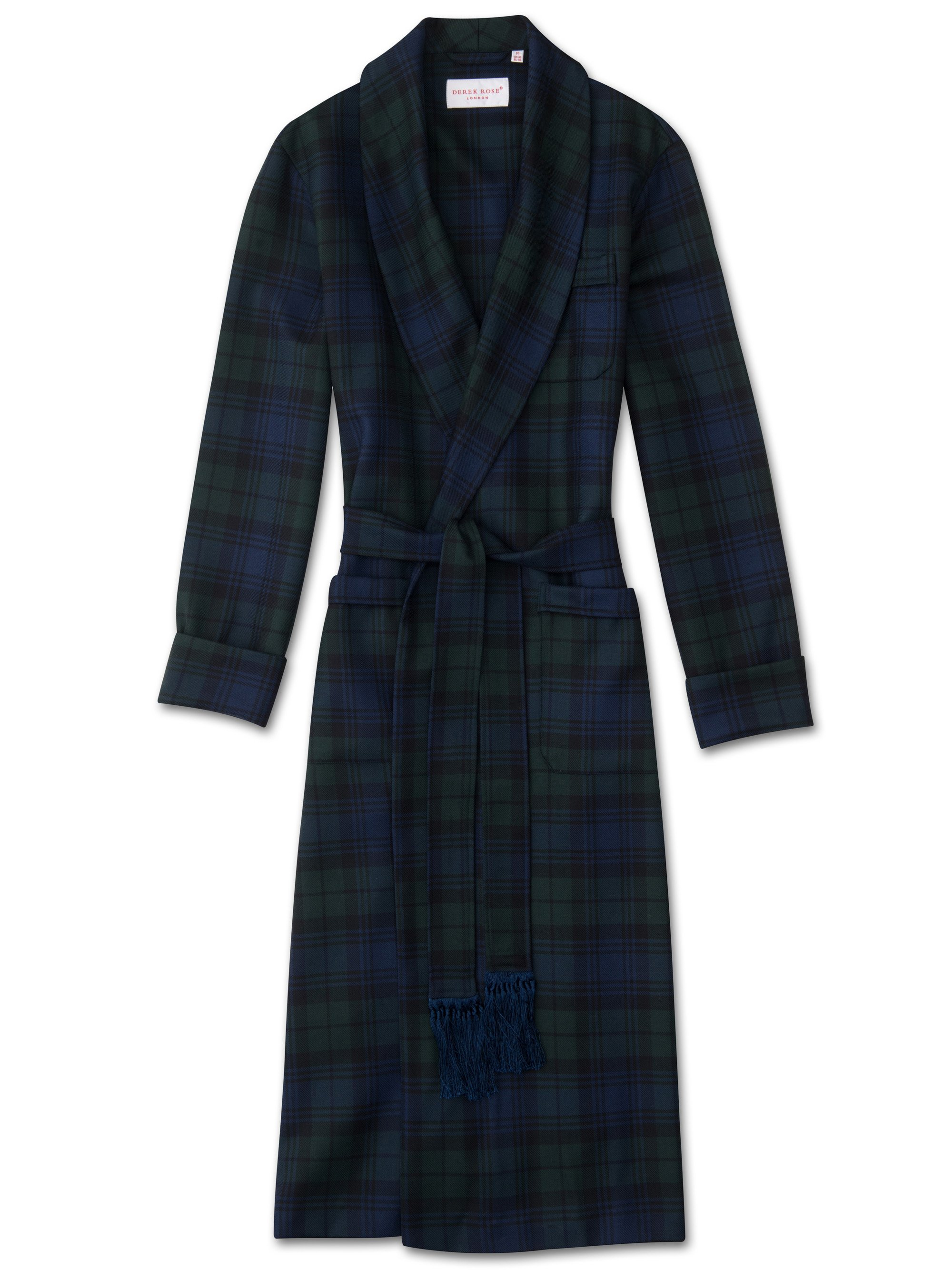 Men's Classic Dressing Gown Tartan Pure Wool Black Watch