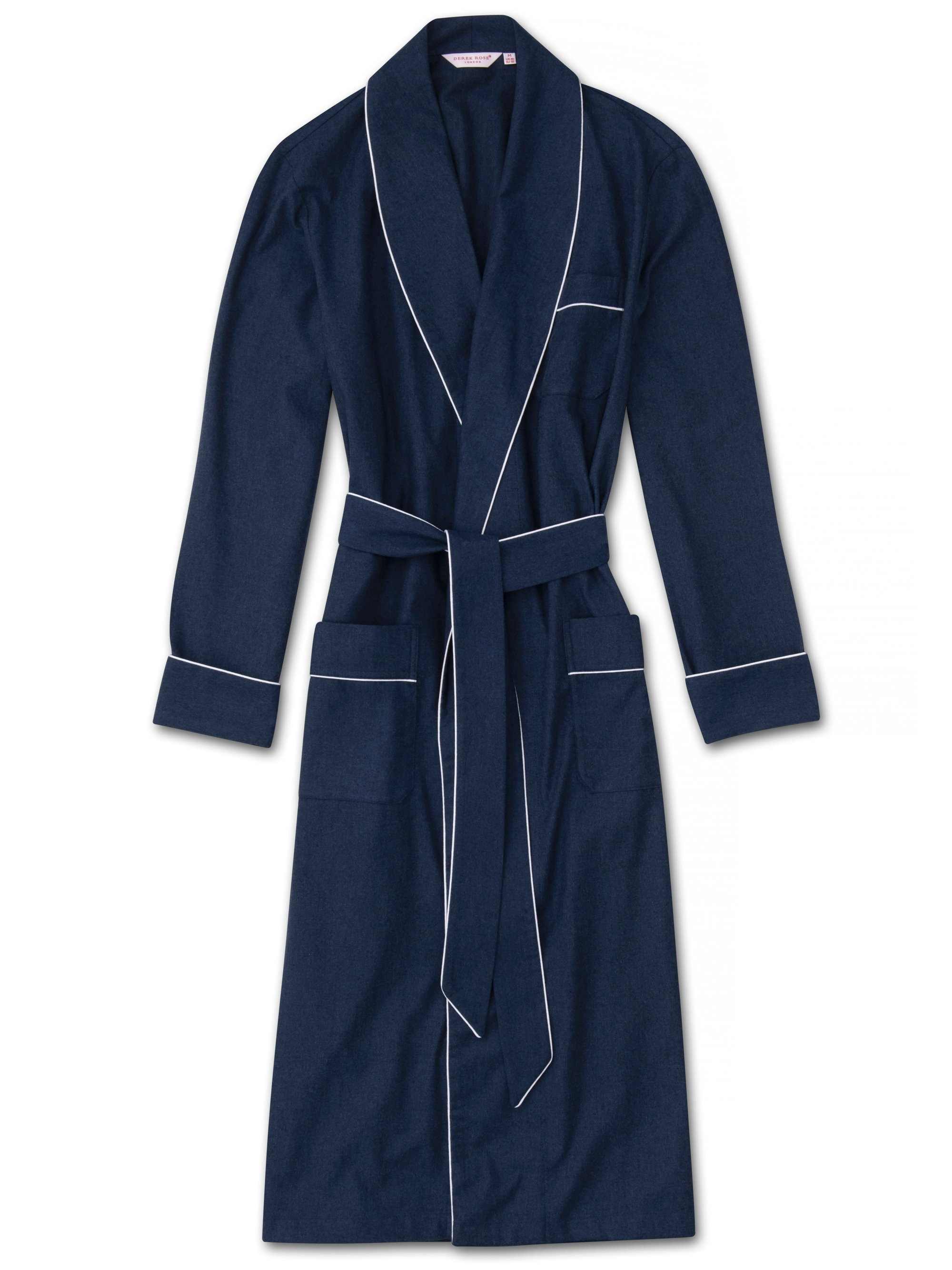 Men's Piped Dressing Gown Balmoral 3 Brushed Cotton Navy