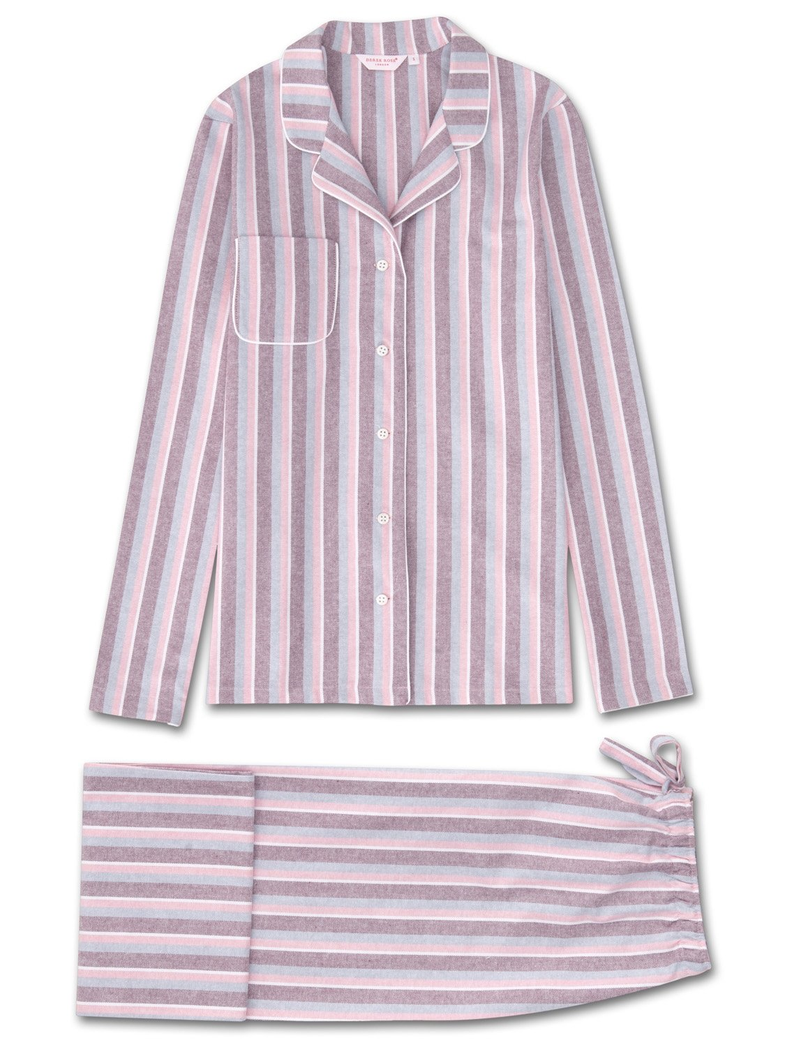 Women's Pyjamas Arran 87 Brushed Cotton Stripe Burgundy