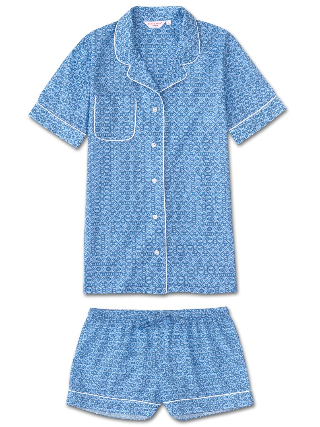 Women's Shortie Pyjamas Ledbury 5 Cotton Batiste Blue