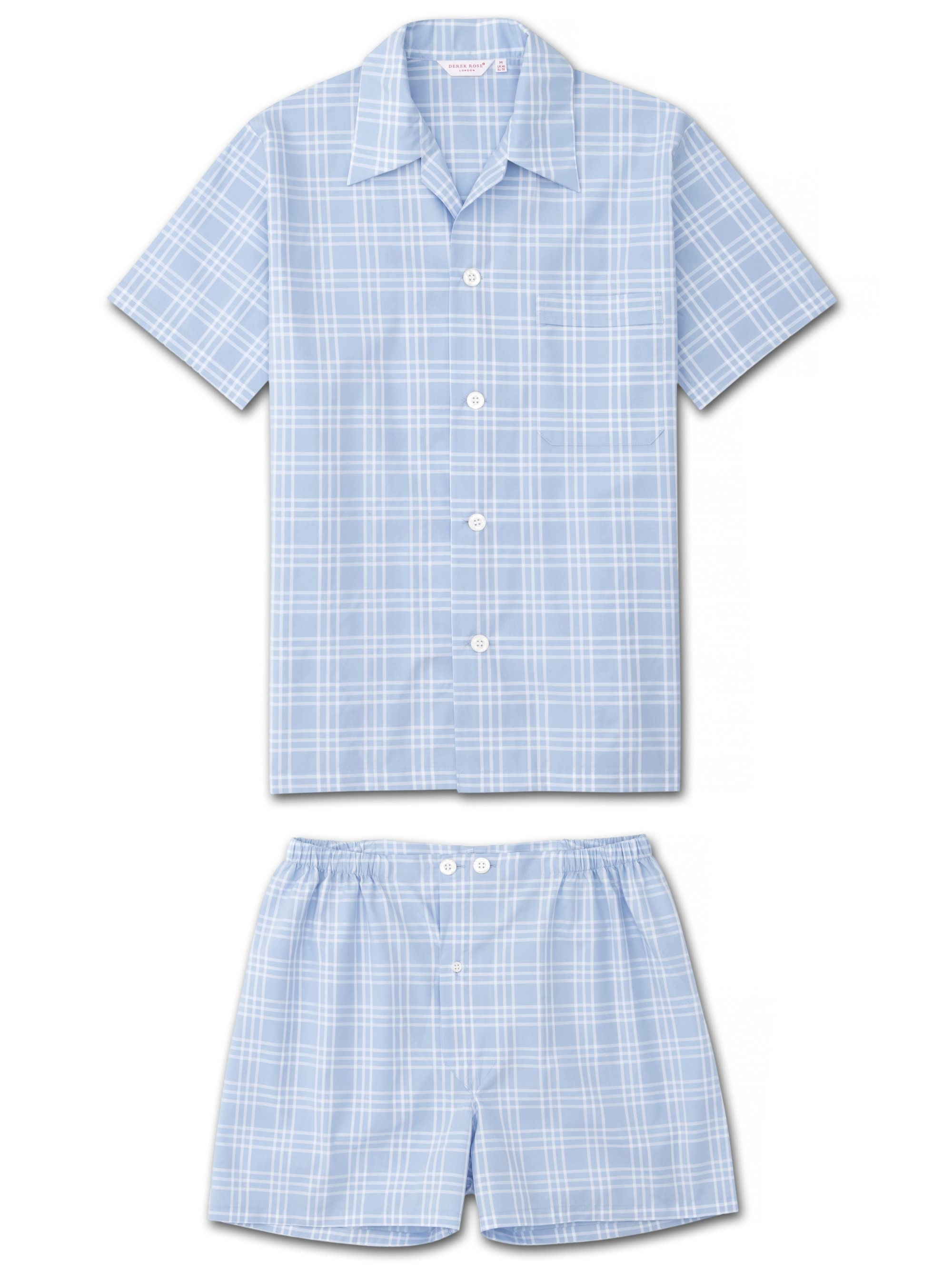 Men's Short Pyjamas Barker 27 Cotton Check Blue