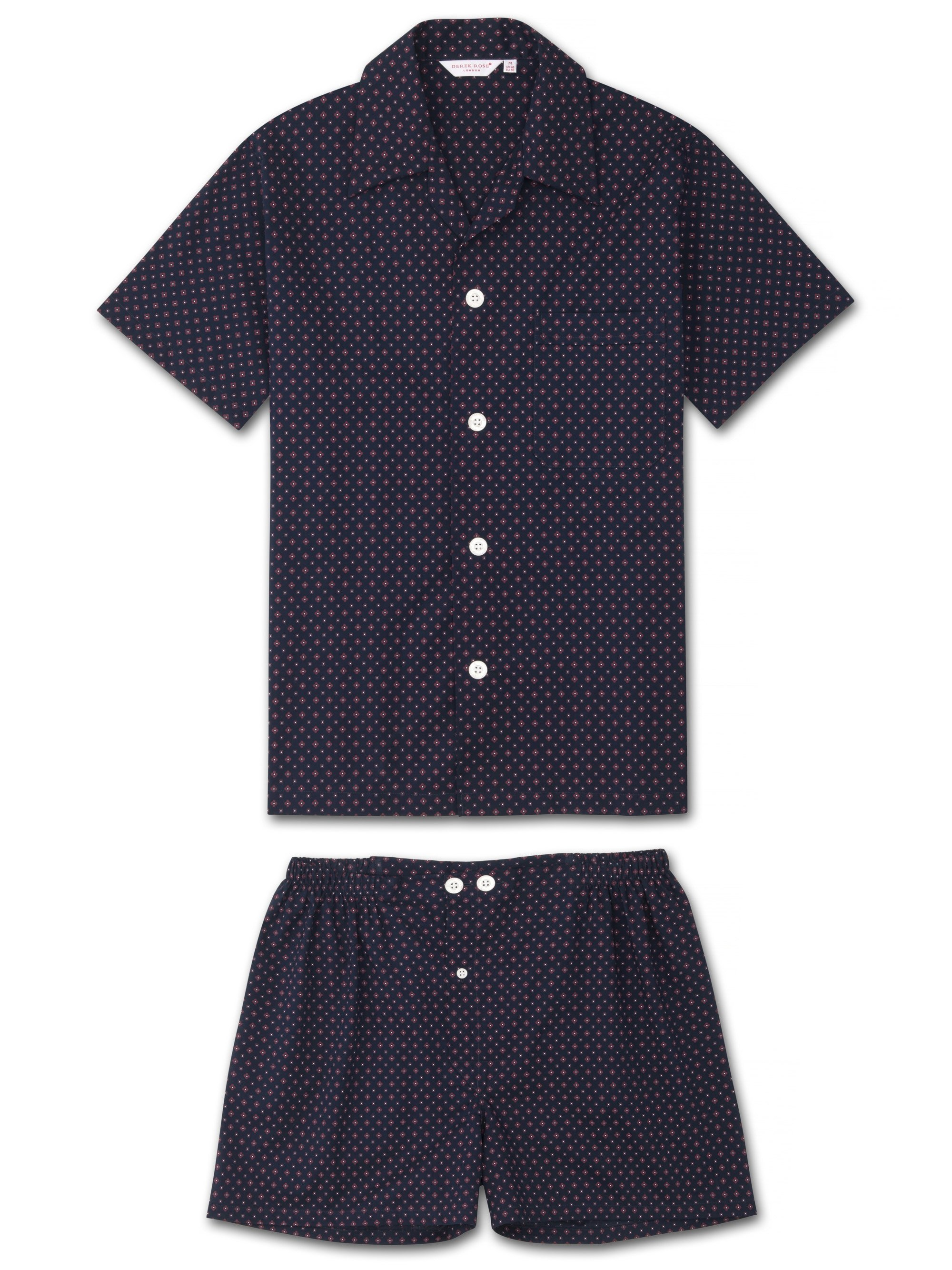 Men's Short Pyjamas Nelson 72 Cotton Batiste Navy