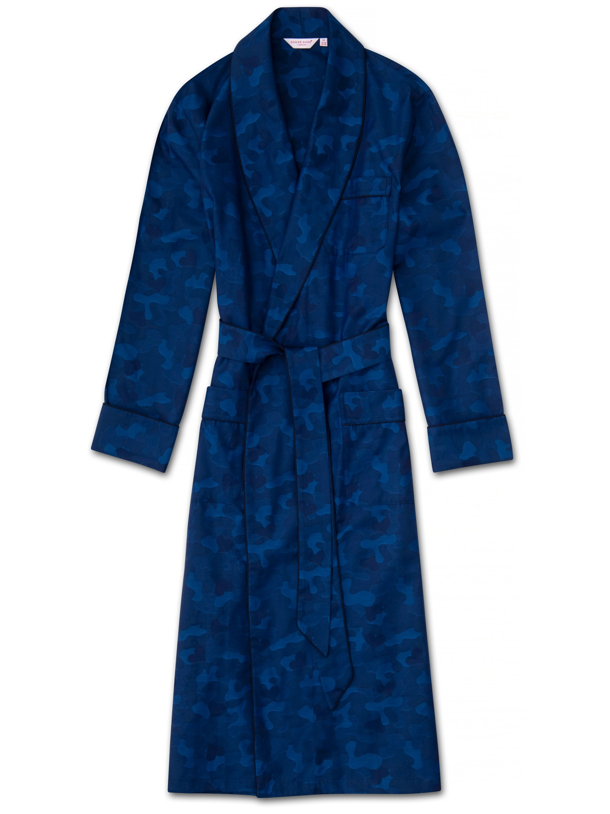 Men's Piped Dressing Gown Paris 18 Cotton Jacquard Navy