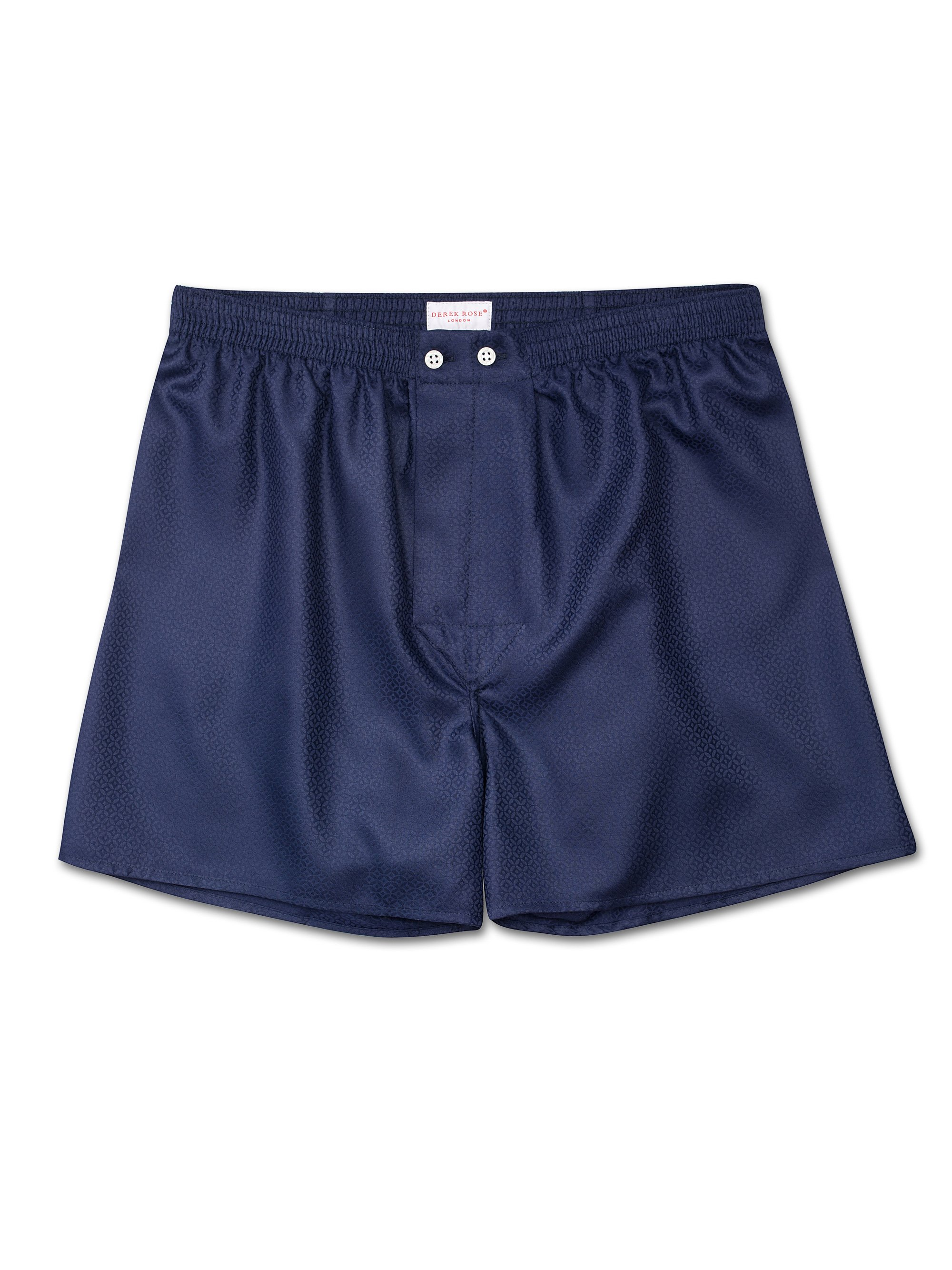 Men's Classic Fit Boxer Shorts Lombard 6 Cotton Jacquard Navy