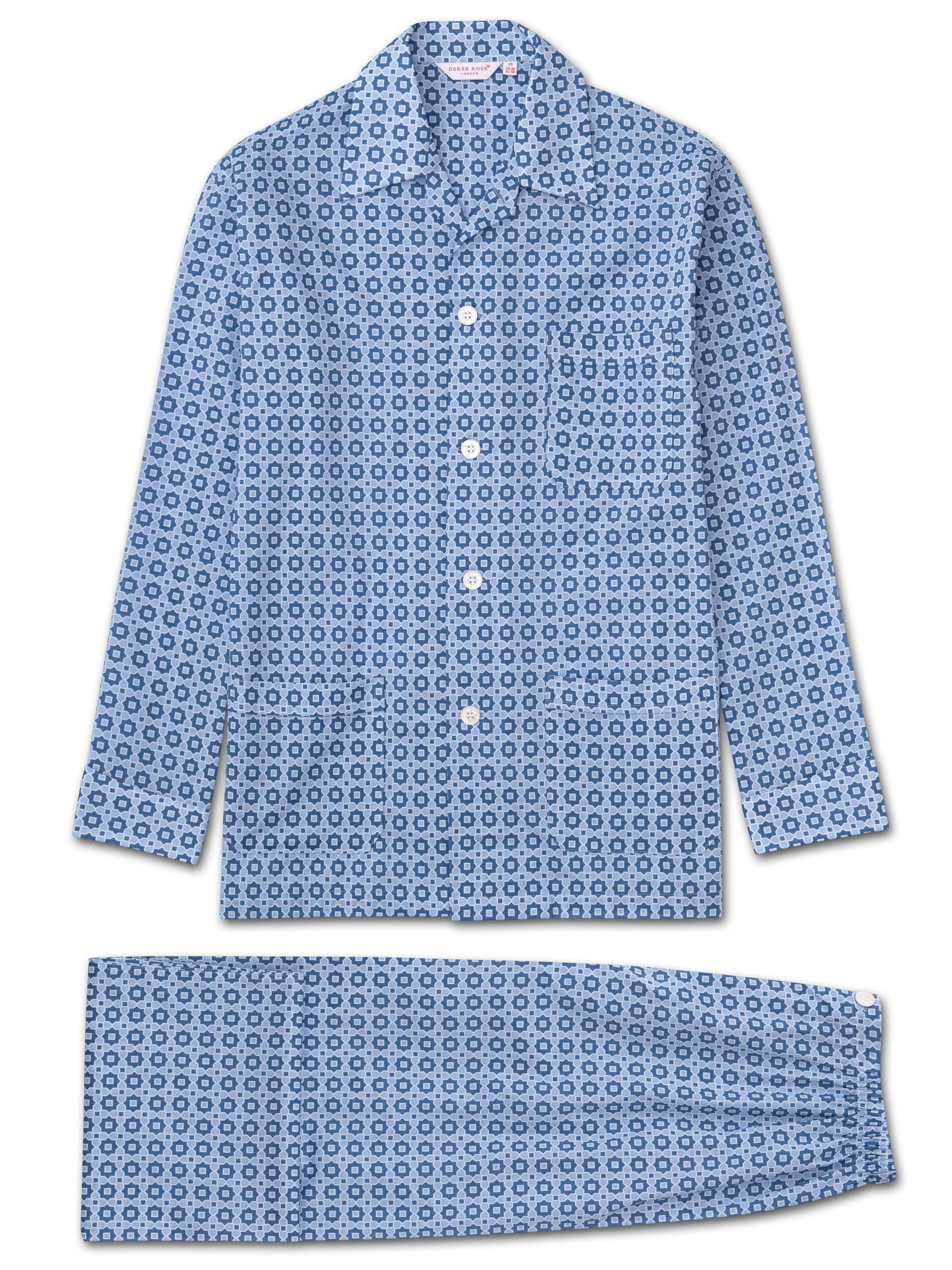 Men's Classic Fit Pyjamas Ledbury 34 Cotton Batiste Blue