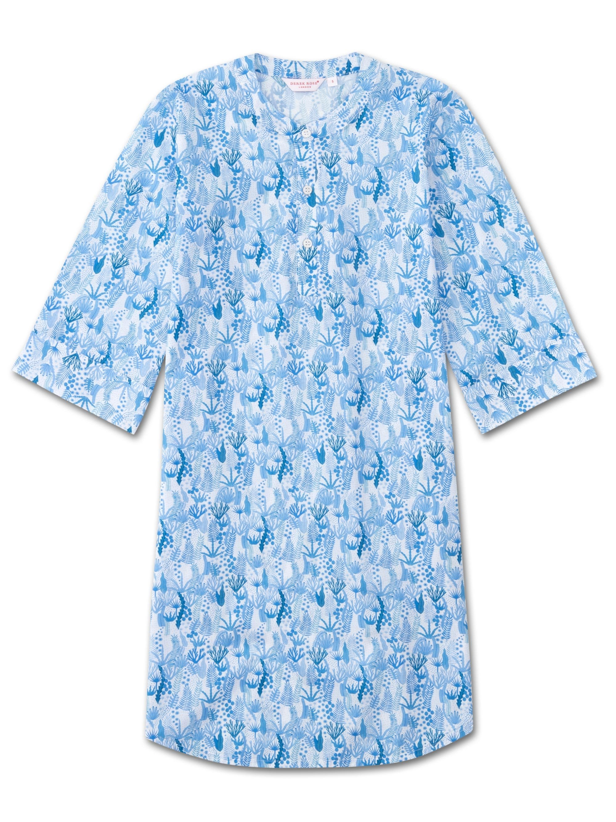 Women's Kaftan Nightshirt Ledbury 23 Cotton Batiste Blue