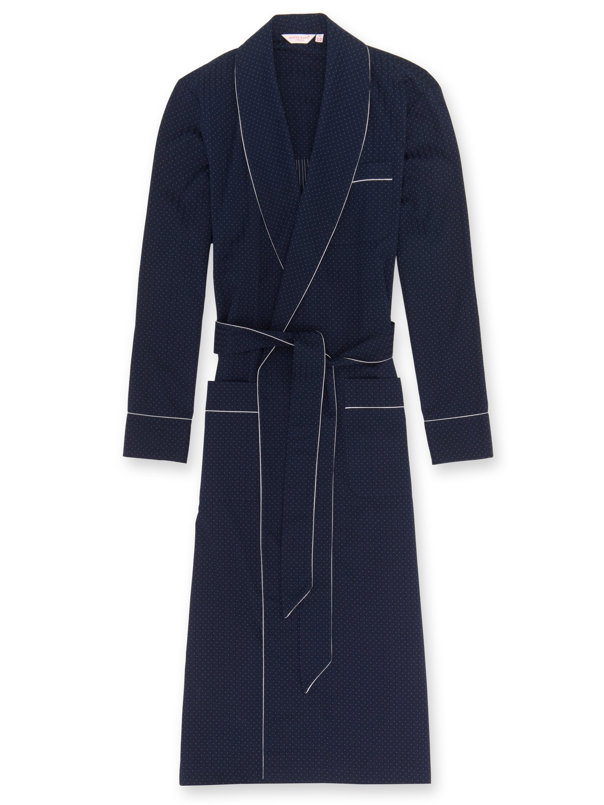 Men's Piped Dressing Gown Royal 40 Cotton Satin Stripe Navy