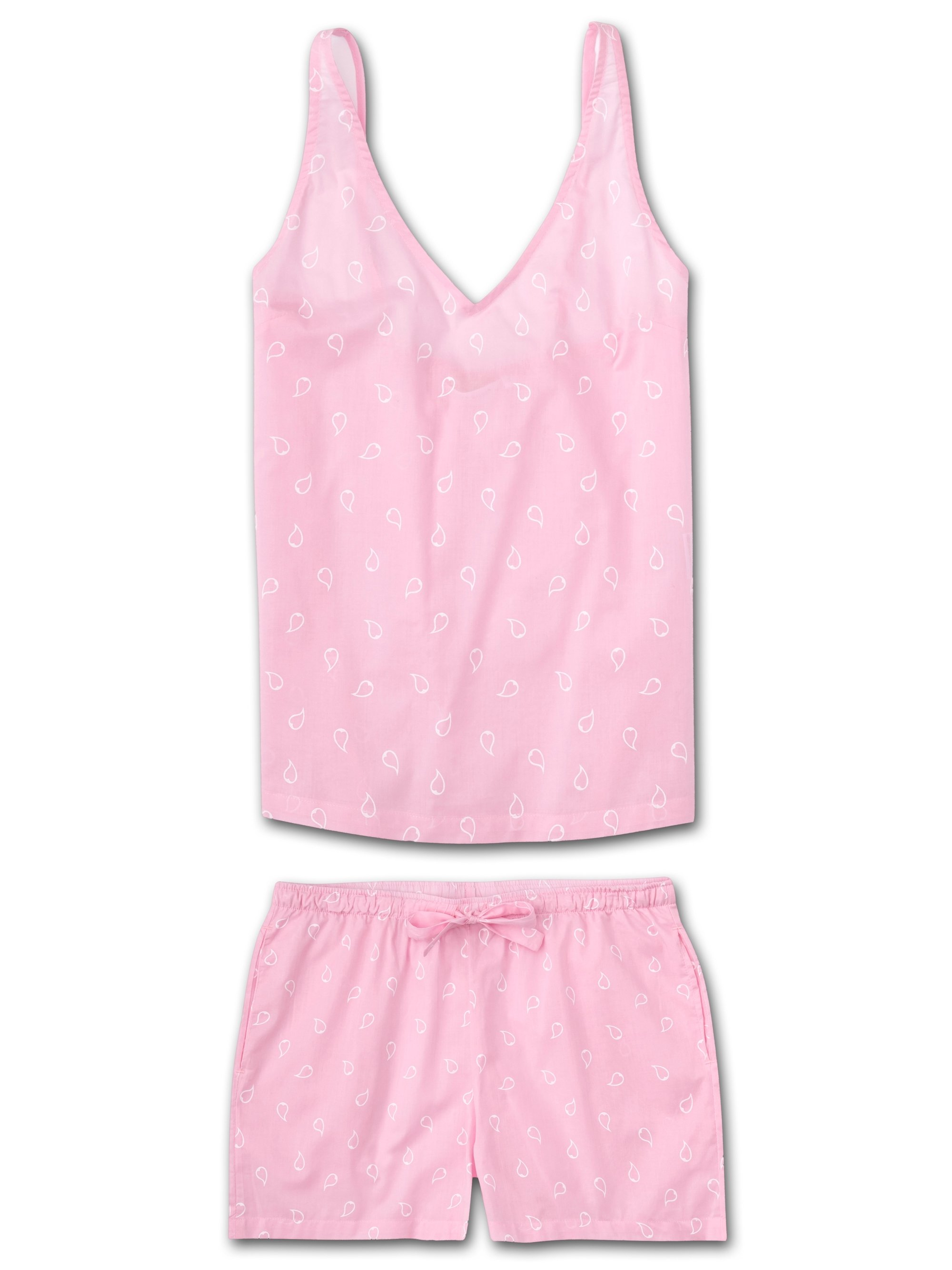 Women's Cami Short Pyjama Set Nelson 74 Cotton Batiste Pink