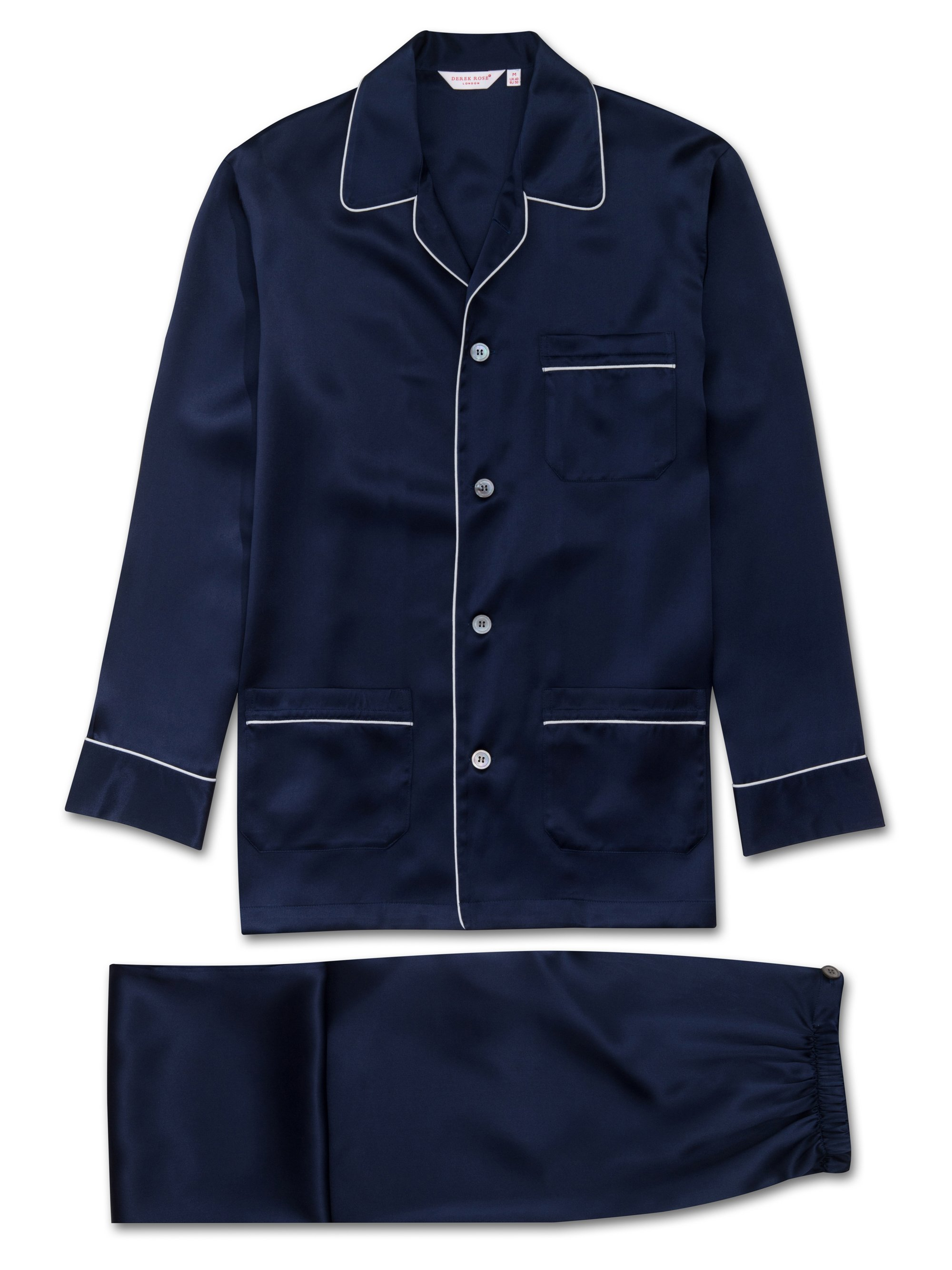 Men's Classic Fit Piped Pyjamas Bailey Pure Silk Navy