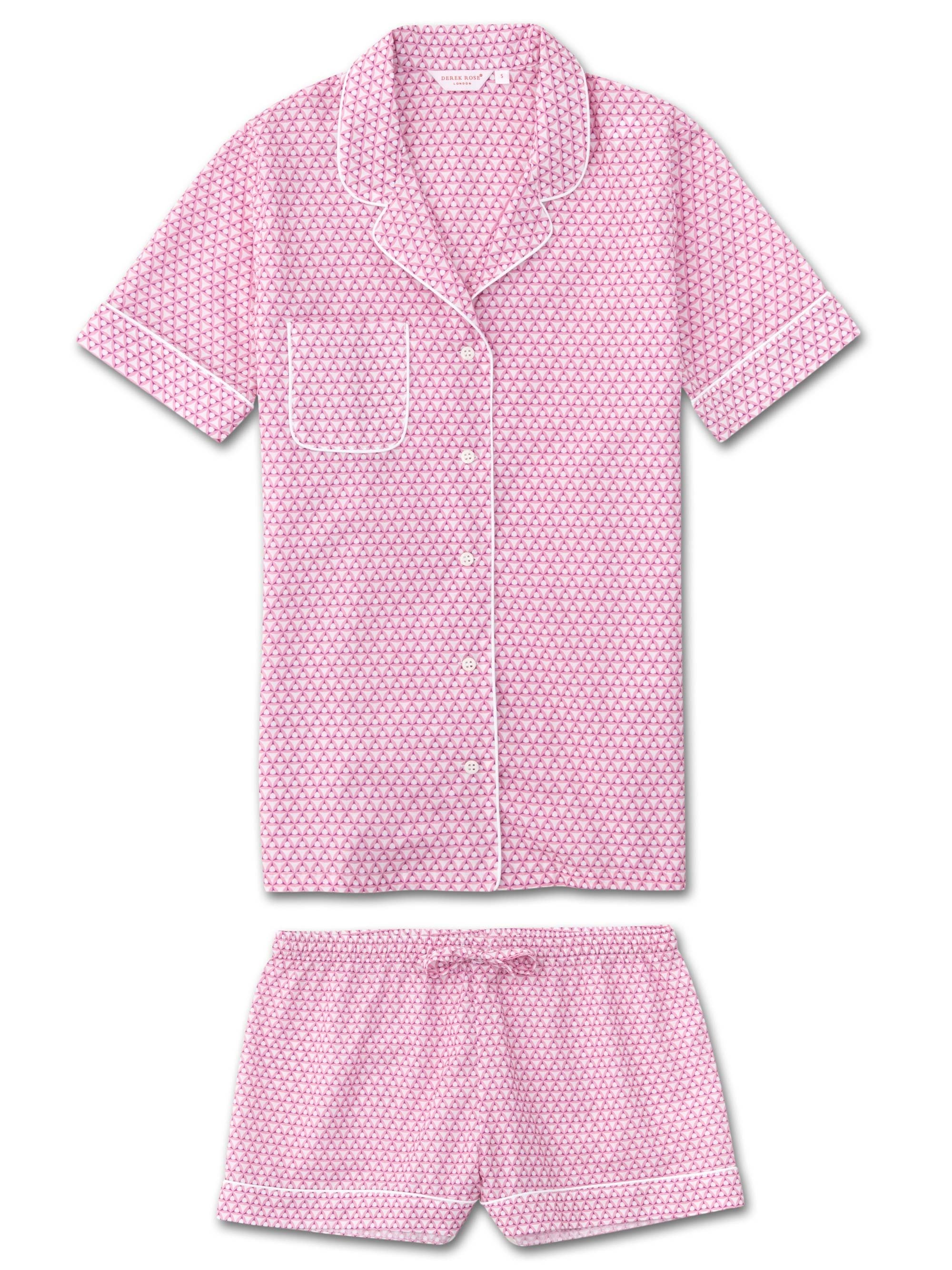 Women's Shortie Pyjamas Ledbury 27 Cotton Batiste Pink