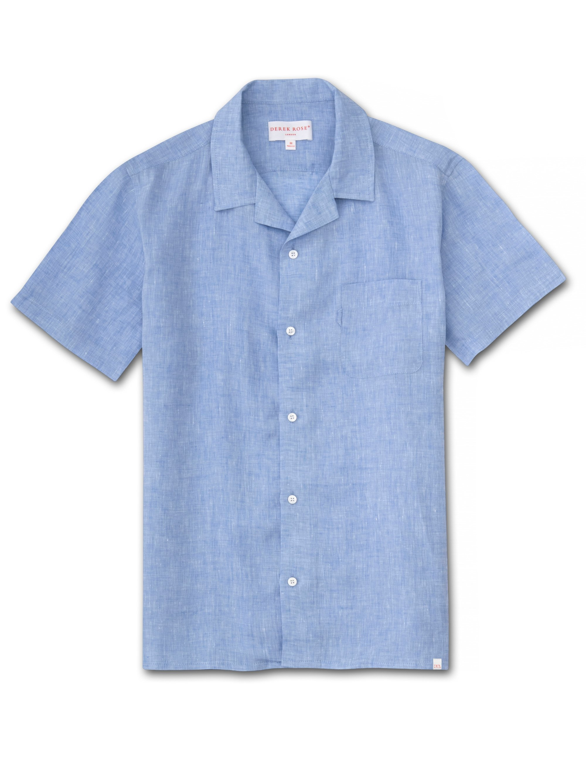 Men's Linen Short Sleeve Shirt Monaco Pure Linen Blue