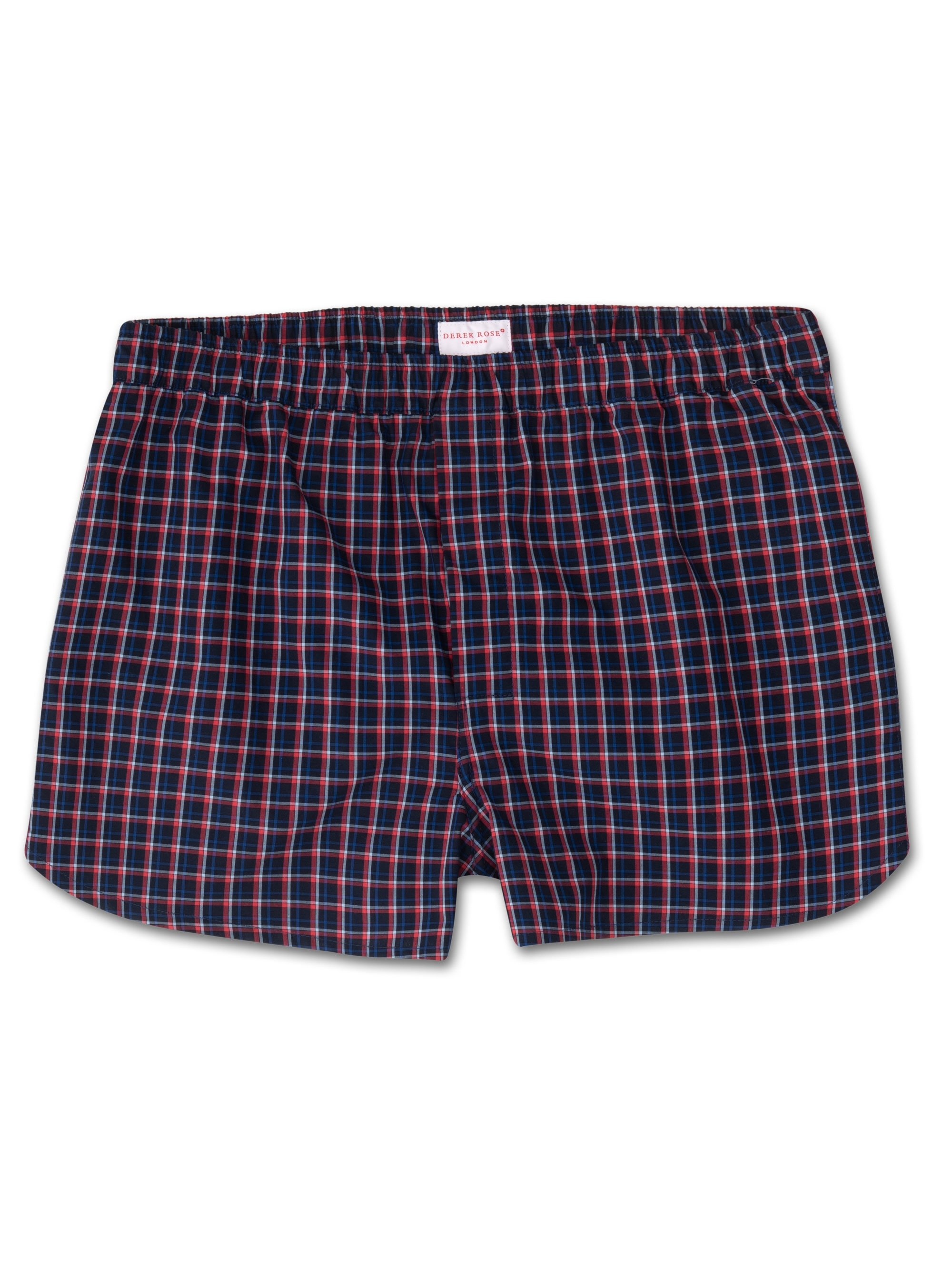 Men's Modern Fit Boxer Shorts Barker 22 Cotton Check Navy